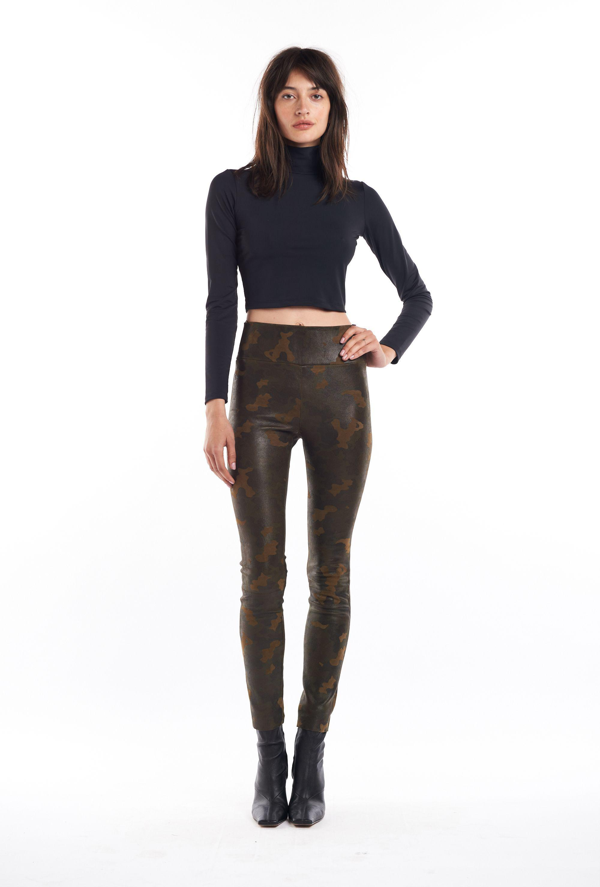 Camouflage Leather Ankle Legging