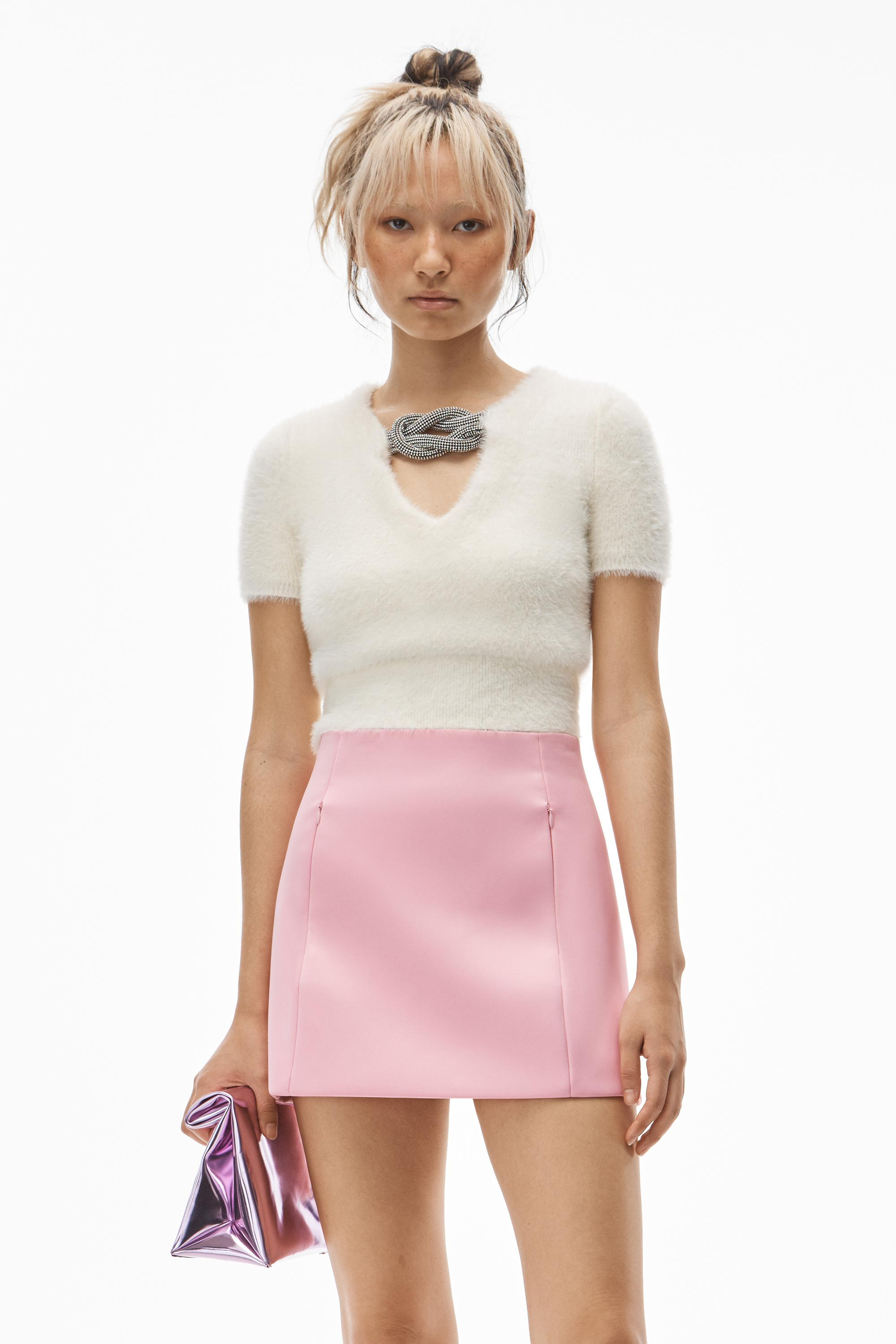short-sleeve crystal knot top in faux fur