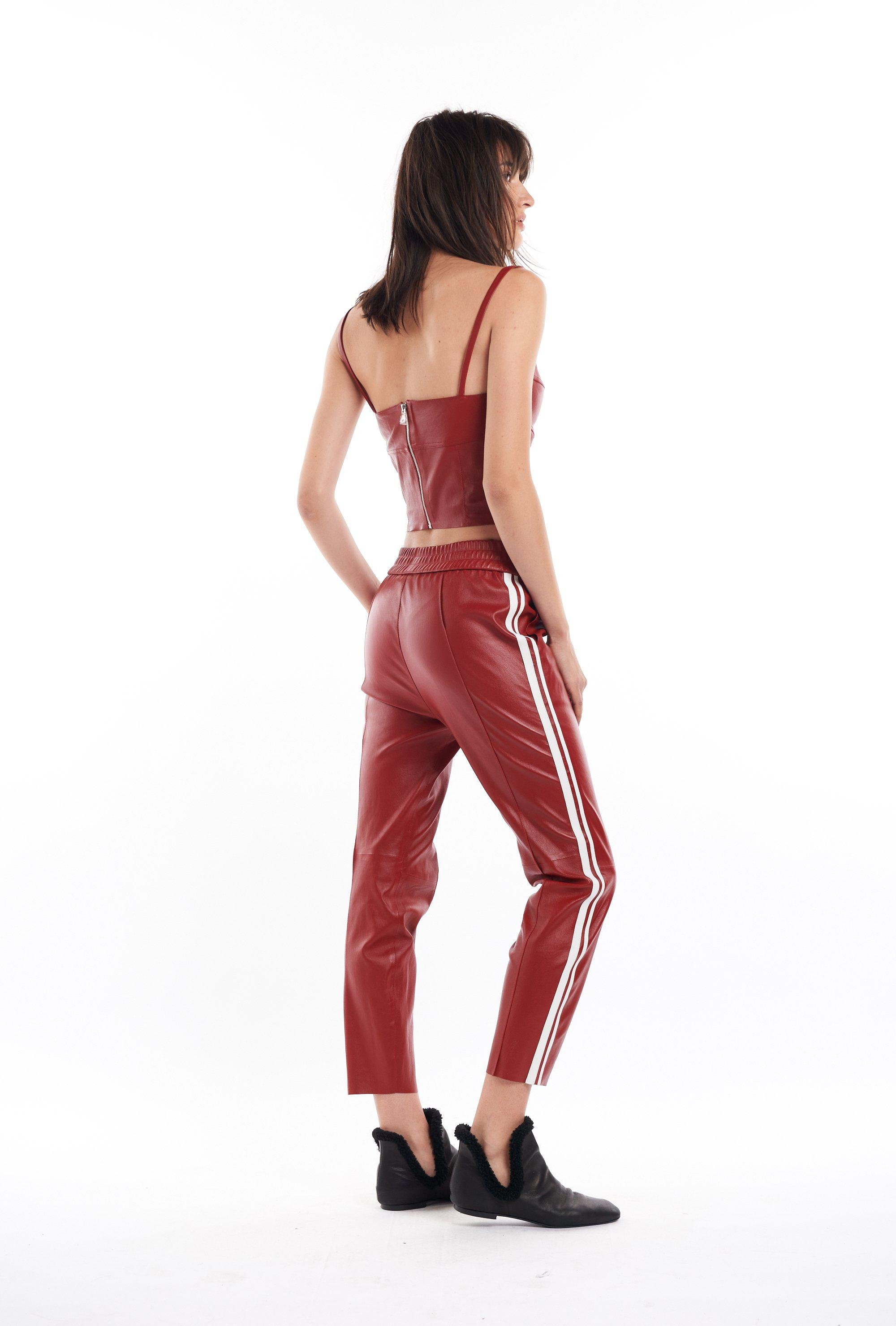 Blood Red Slim Fit Athletic Leather Joggers