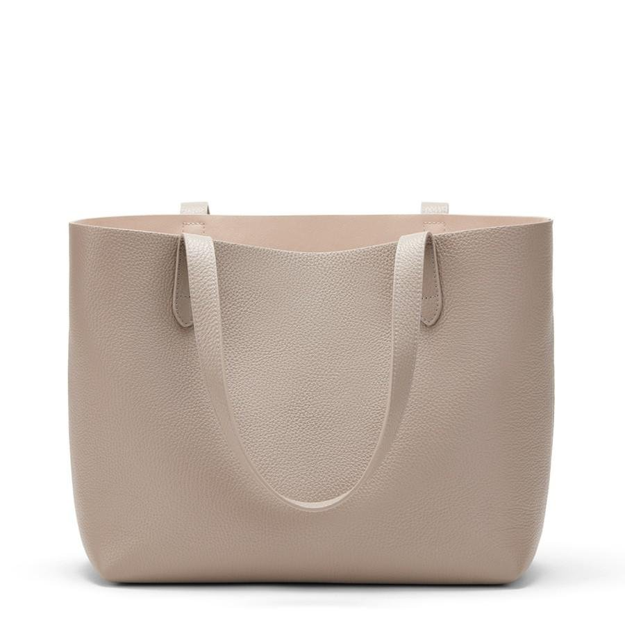 Women's Small Structured Leather Tote Bag in Stone/Blush Pink | Pebbled Leather by Cuyana