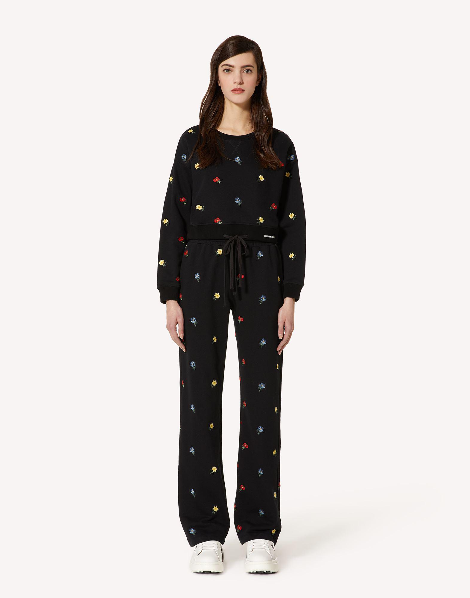 SWEATPANTS WITH DELICATE FLOWERS EMBROIDERY