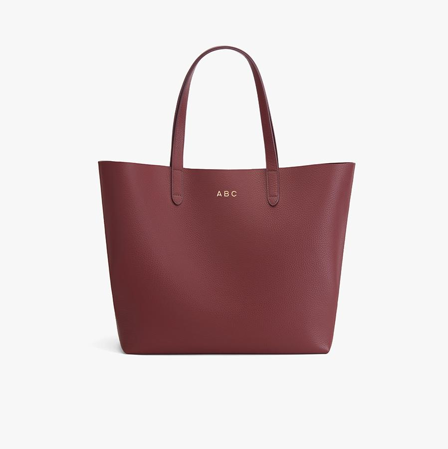 Women's Classic Leather Tote Bag in Merlot Painted   Pebbled Leather by Cuyana 5