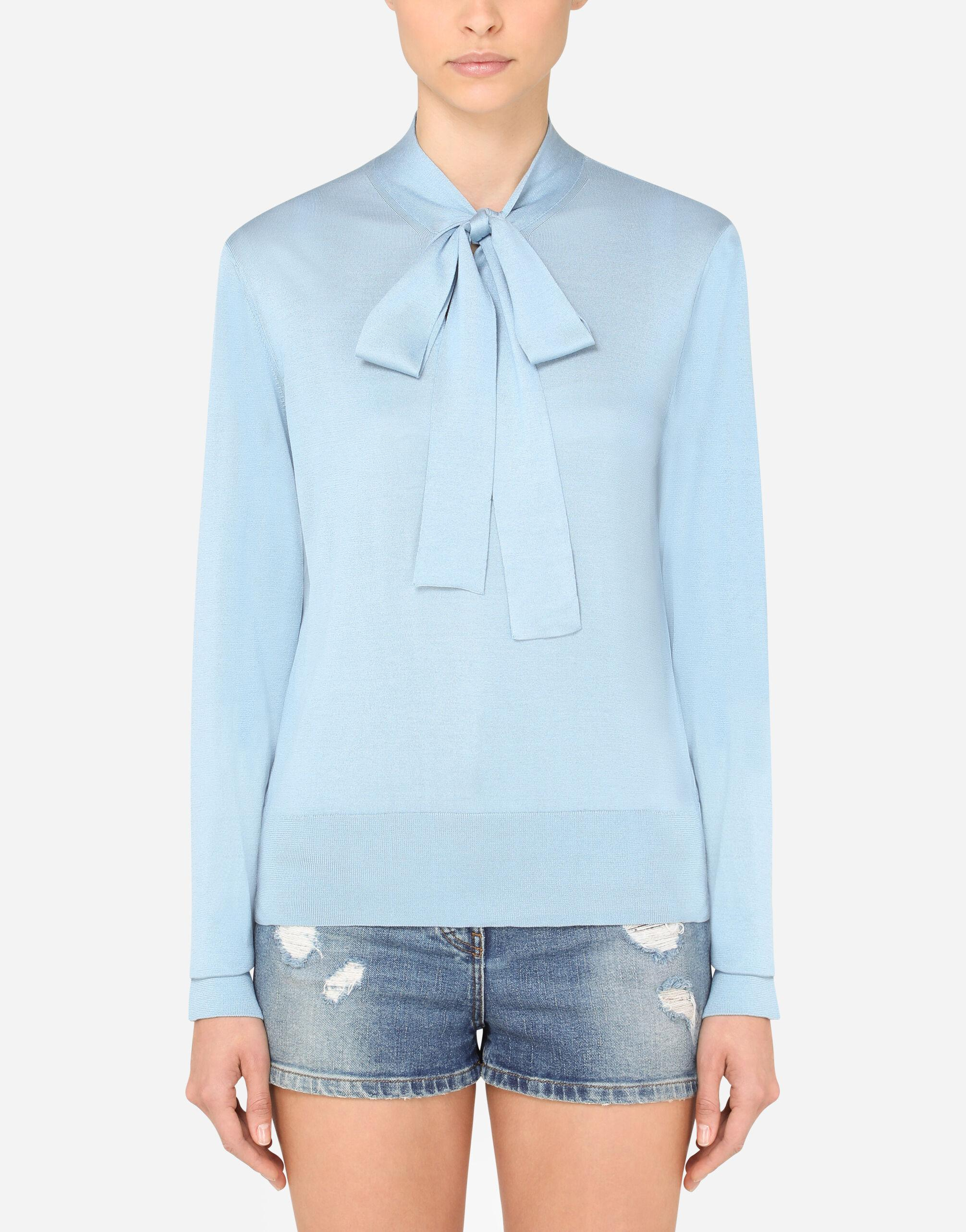 Silk blouse with pussy bow