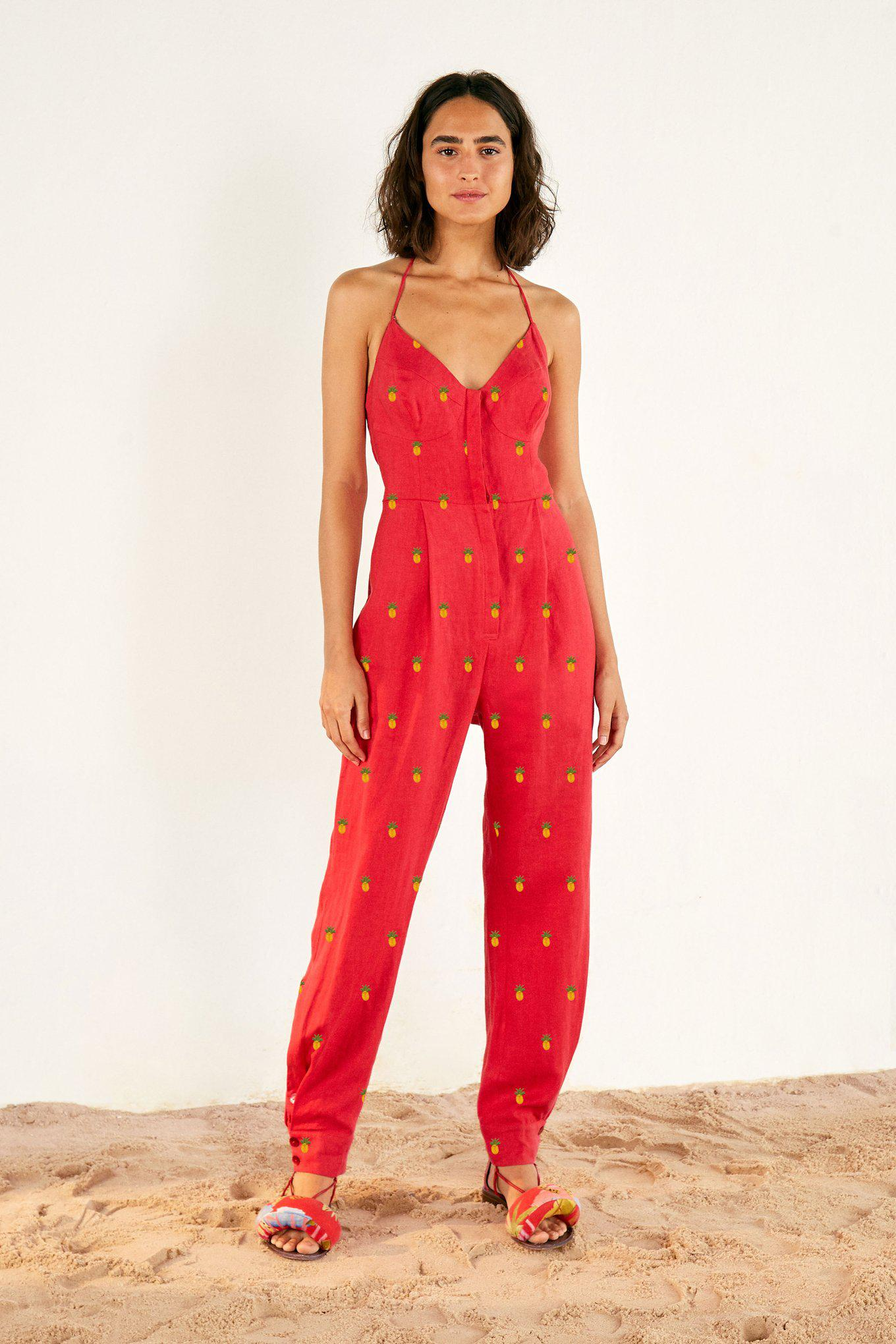 EMBROIDERED PINEAPPLES RED JUMPSUIT 3