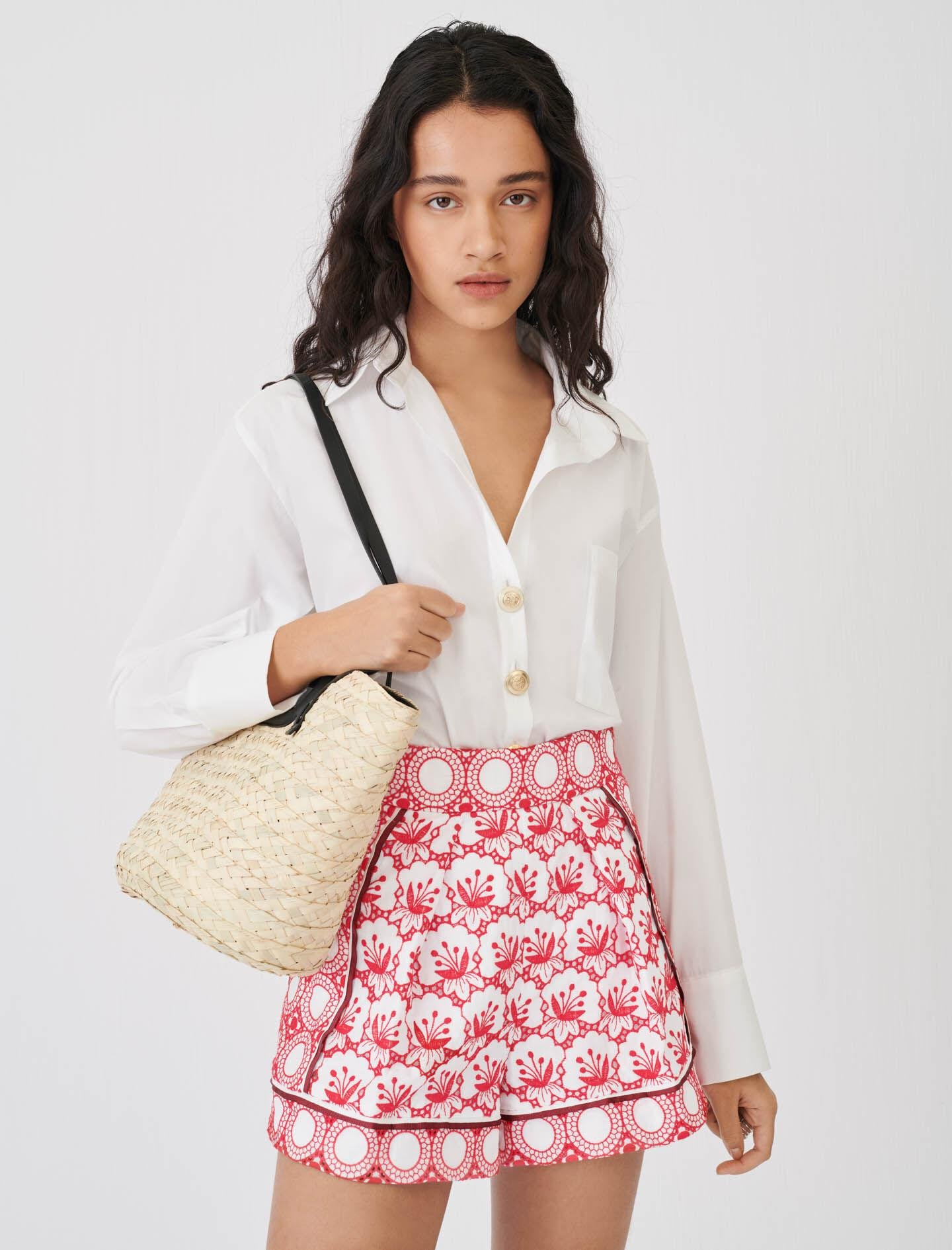 WIDE-CUT SHORTS WITH ALL-OVER EMBROIDERY