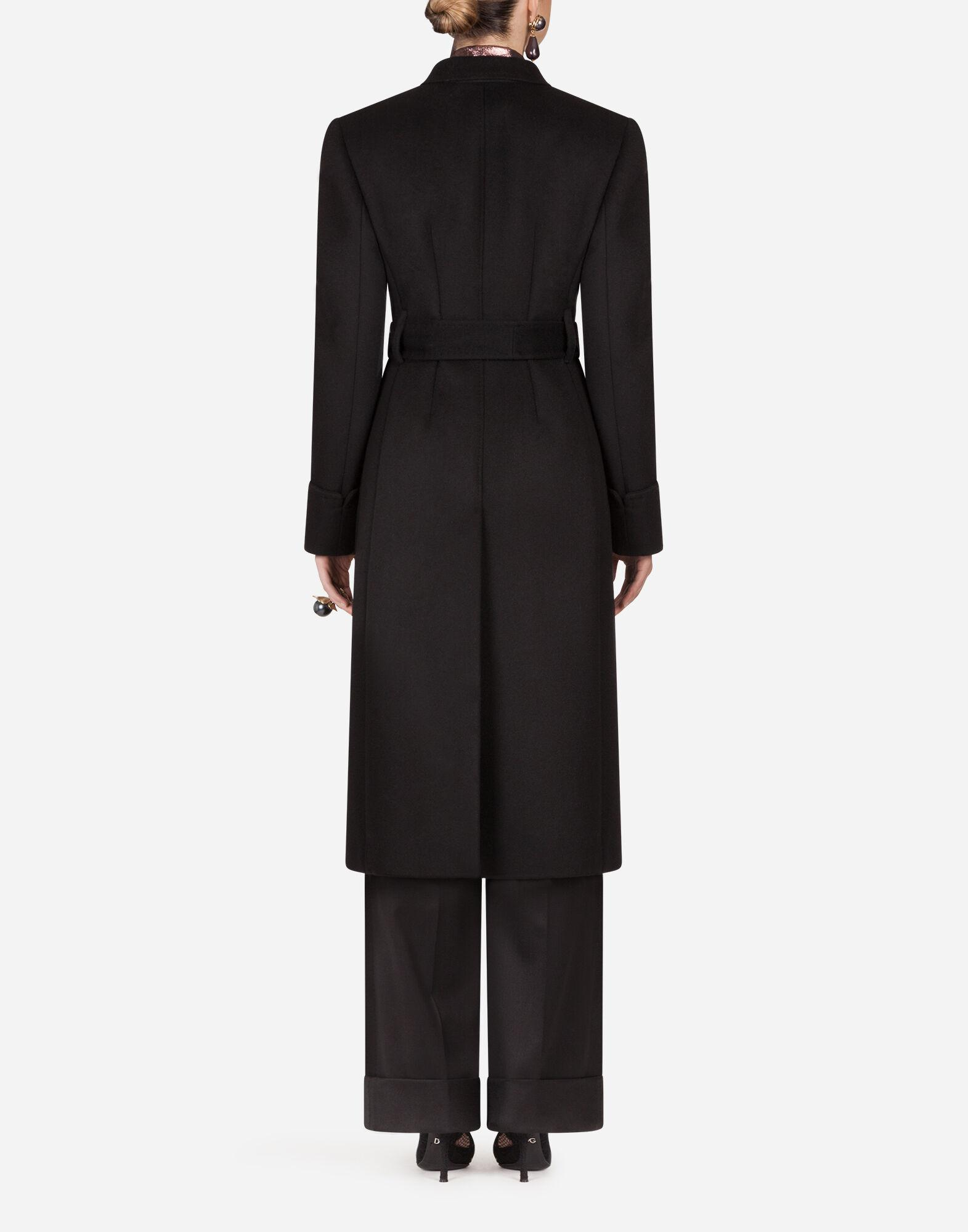 Double-breasted woolen cloth belted coat 1