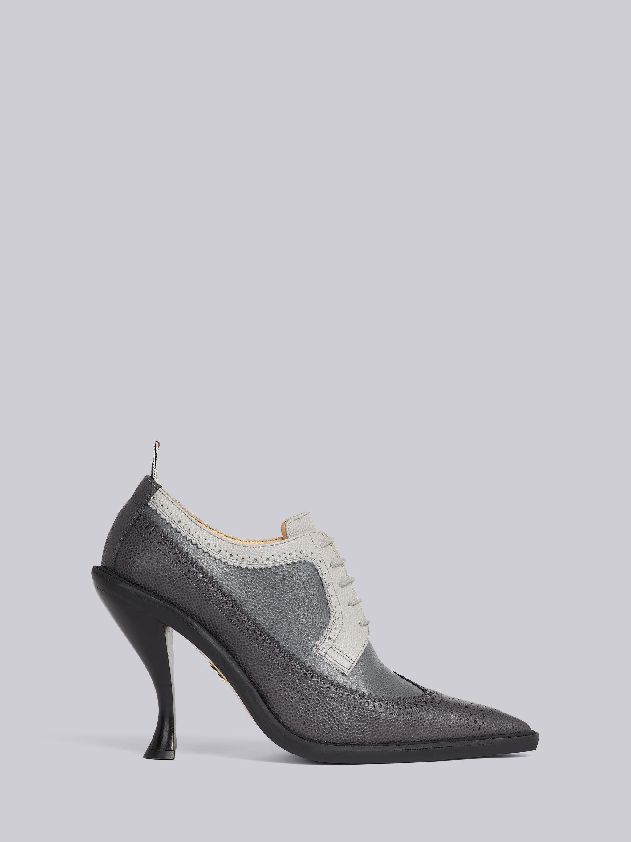 Charcoal Pebble Grain Leather 105mm Curved Heel Longwing Spectator Brogue