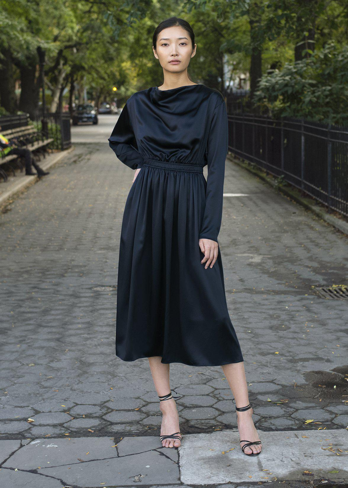 COWL NECK DRESS IN SILK CHARMEUSE 5