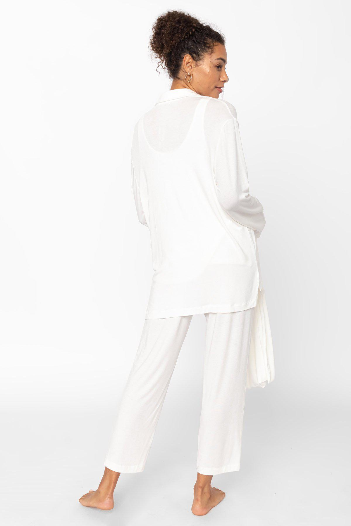 Nora Nuit Half Button Up - White 2