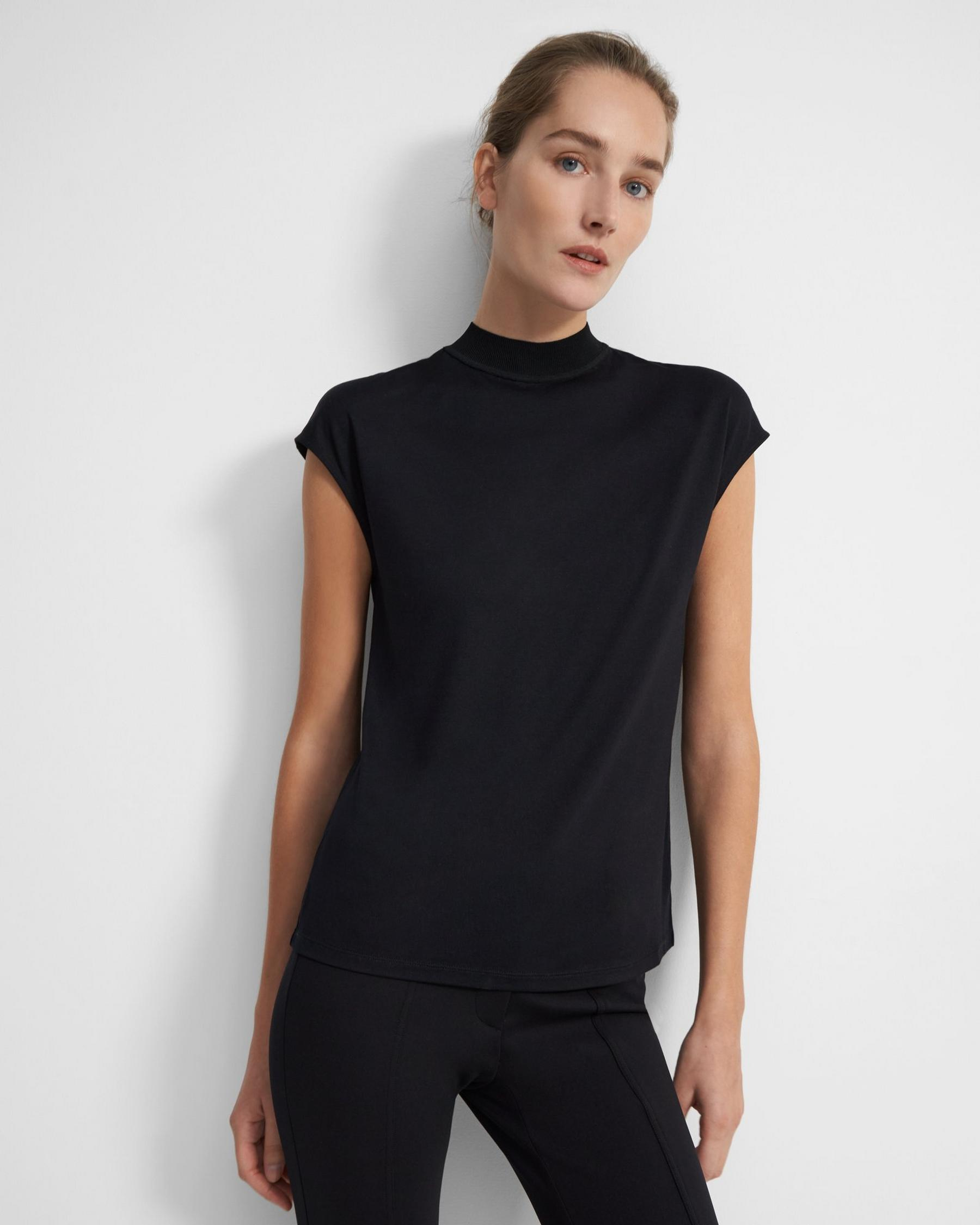 Ribbed Neck Top in Silk Jersey 3