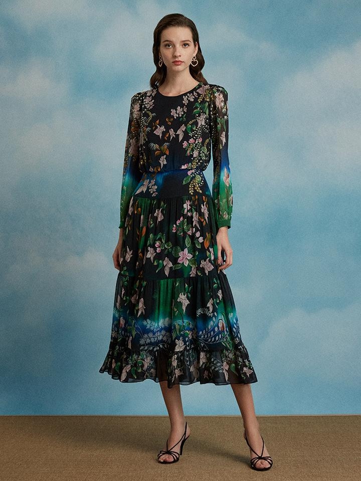 Isabel Dress in Peacock Orchid print