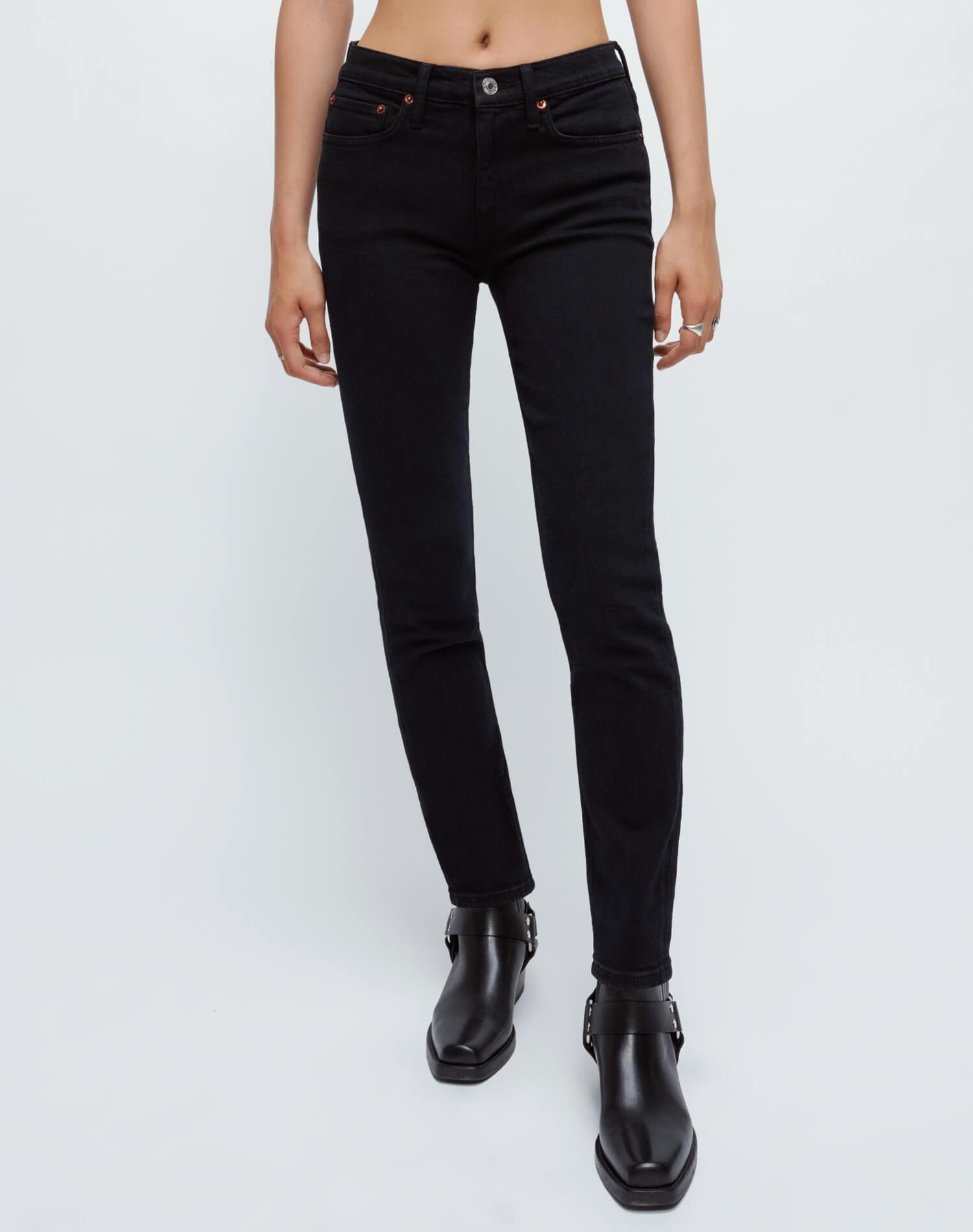Extra Stretch Mid Rise Ankle Crop - Jet Blue Black