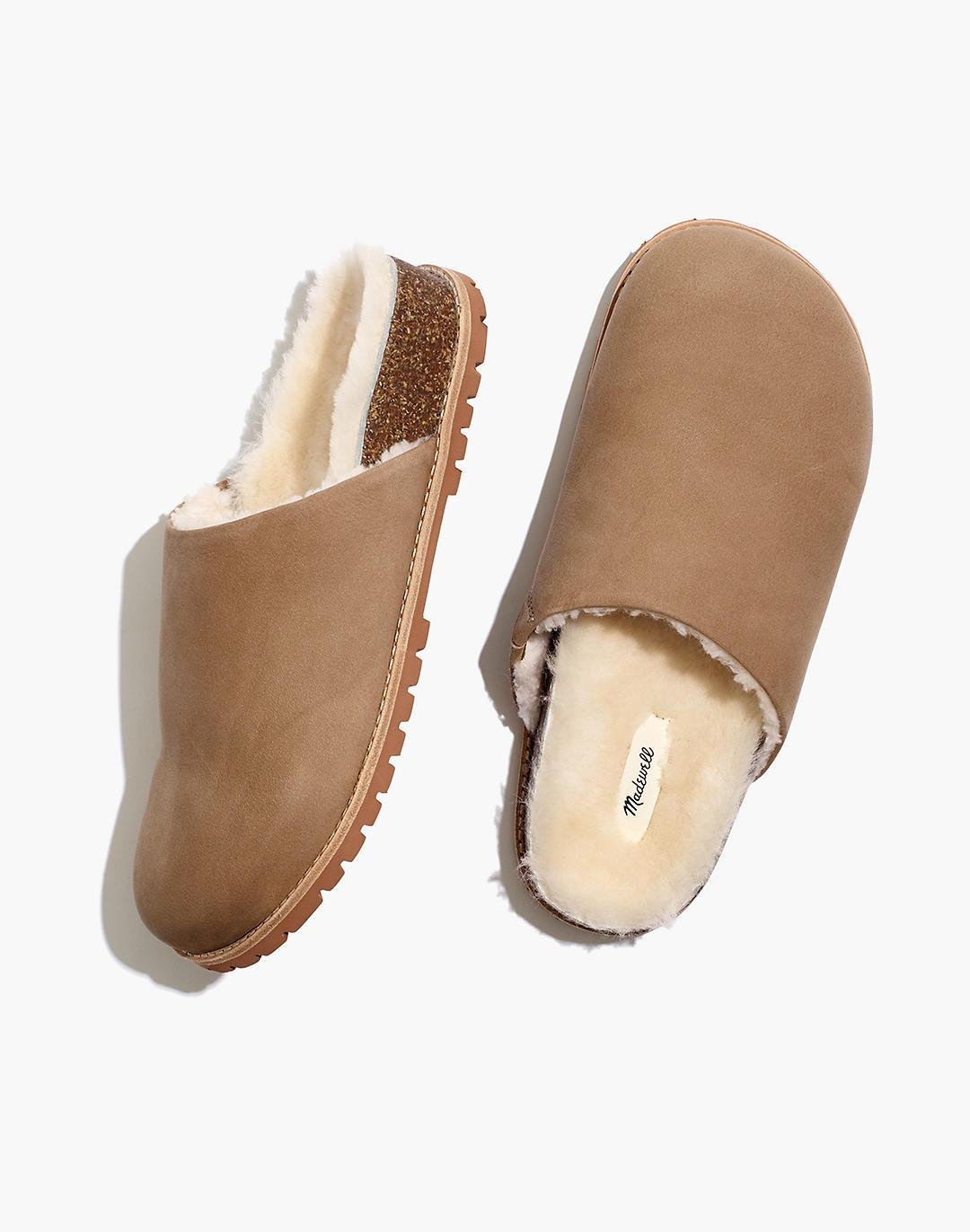 The Layne Clog Mule in Nubuck and Shearling
