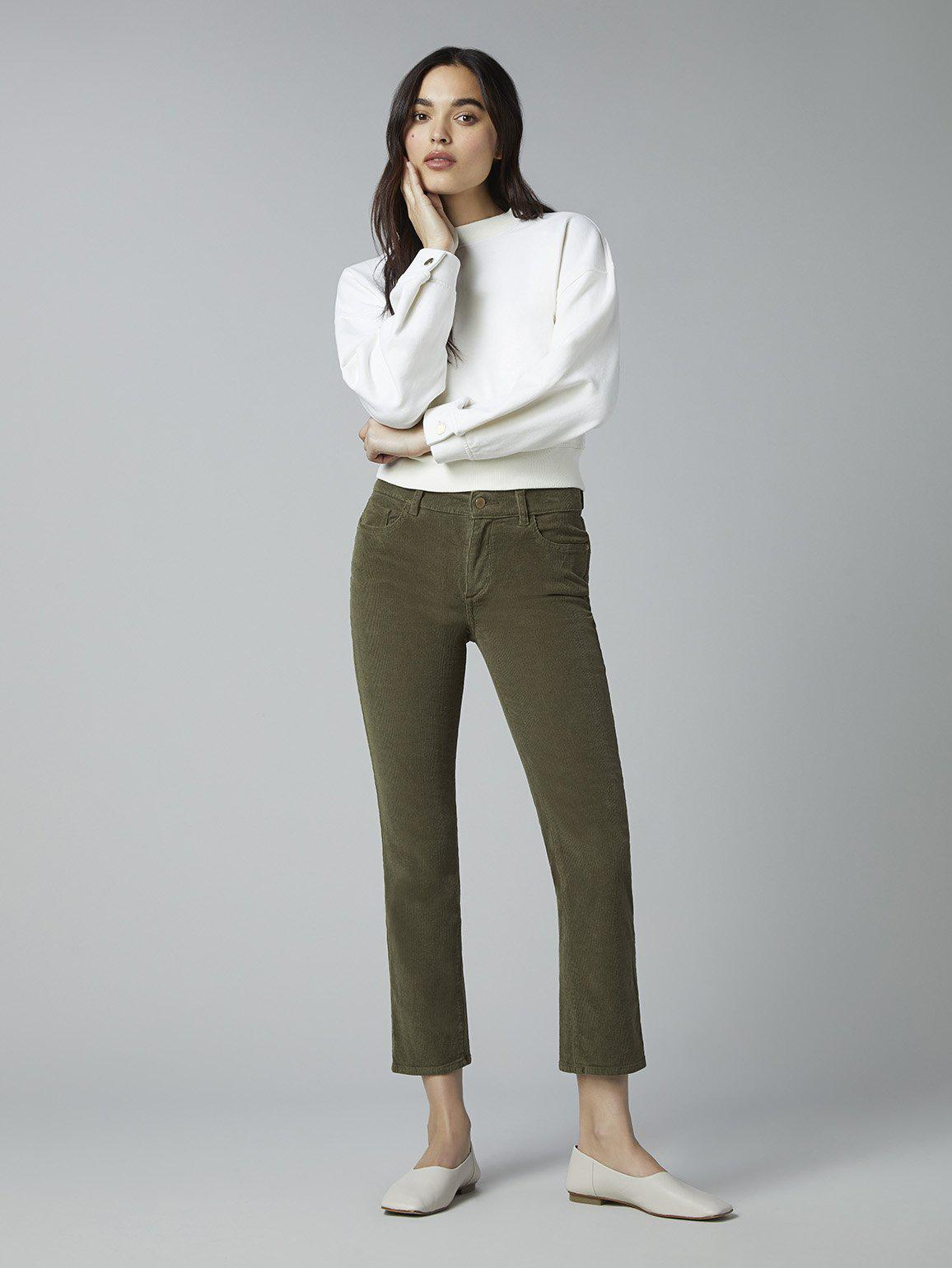 Mara Straight Mid Rise Instasculpt Ankle | Winter Moss