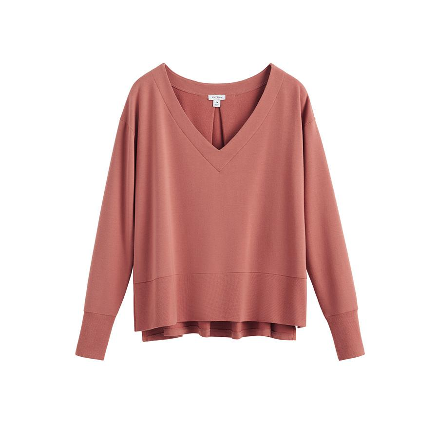 Women's French Terry V-Neck Sweatshirt in Passion Fruit | Size: