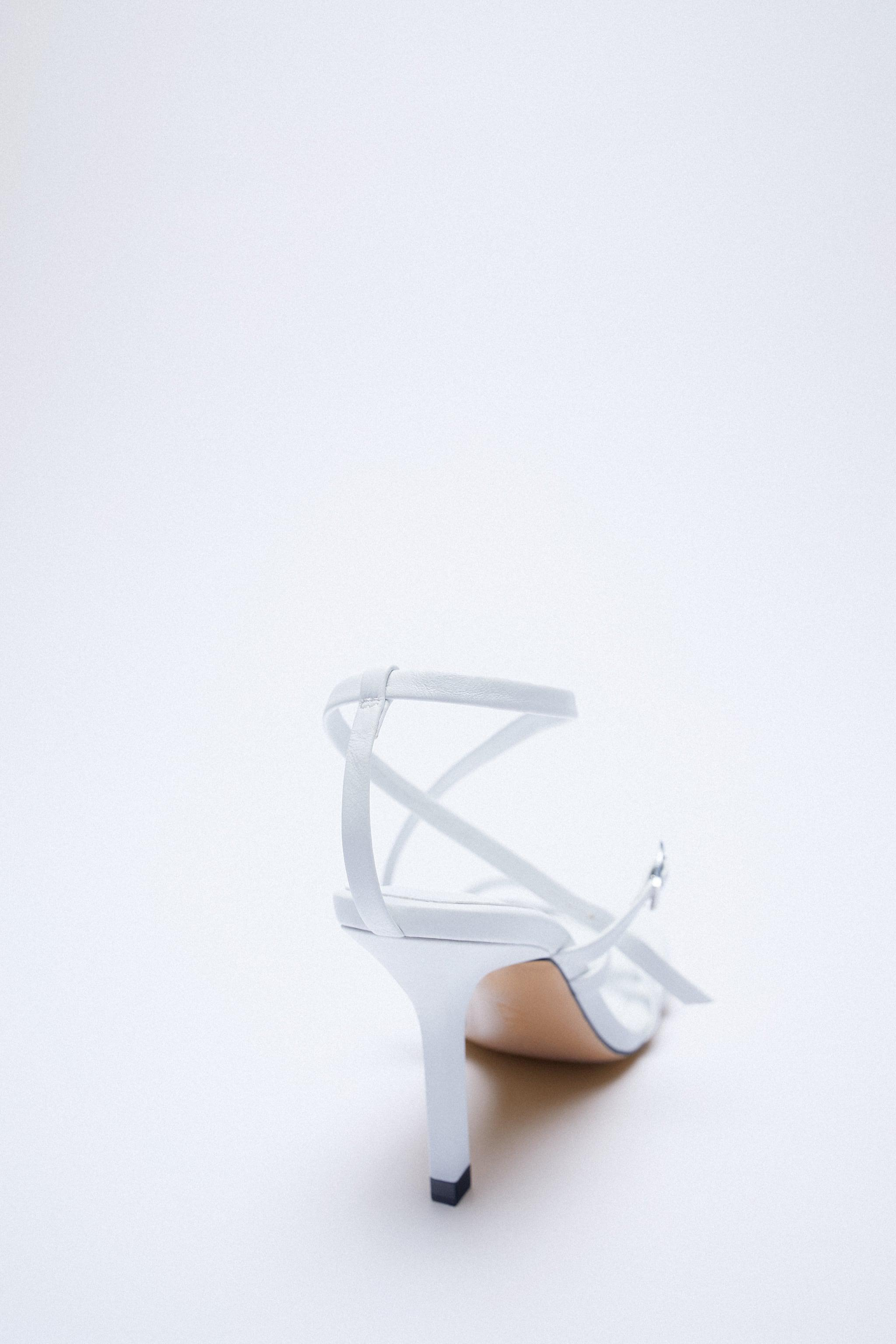 LEATHER HIGH HEEL STRAPPY SANDALS WITH BUCKLE 10