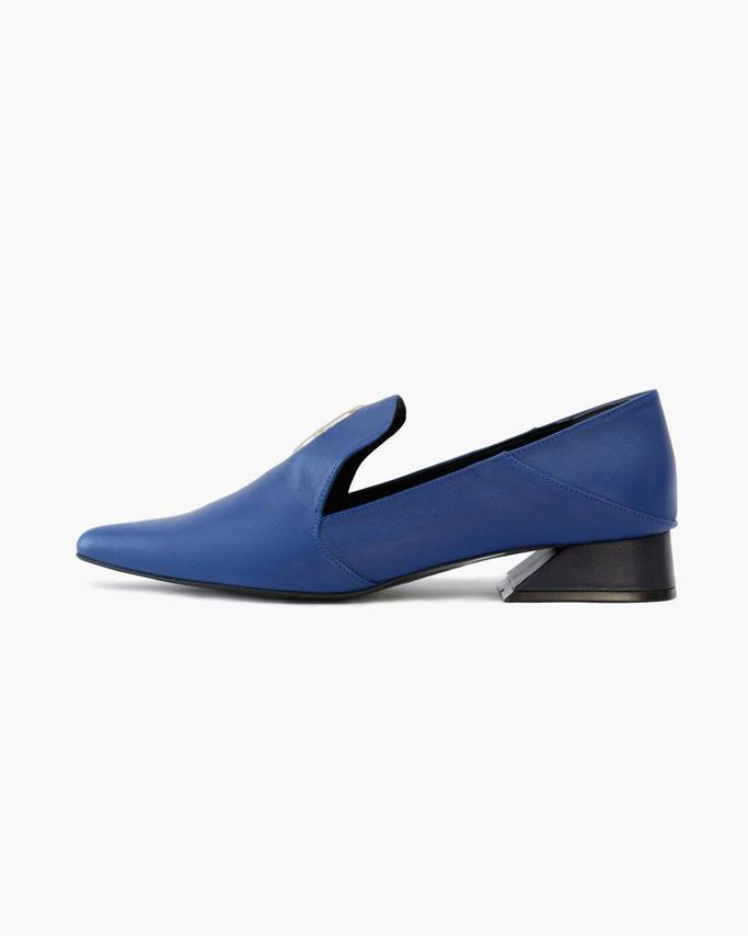 Eyelet Peek-a-Boo Loafer Leather Blue - SPECIAL PRICE