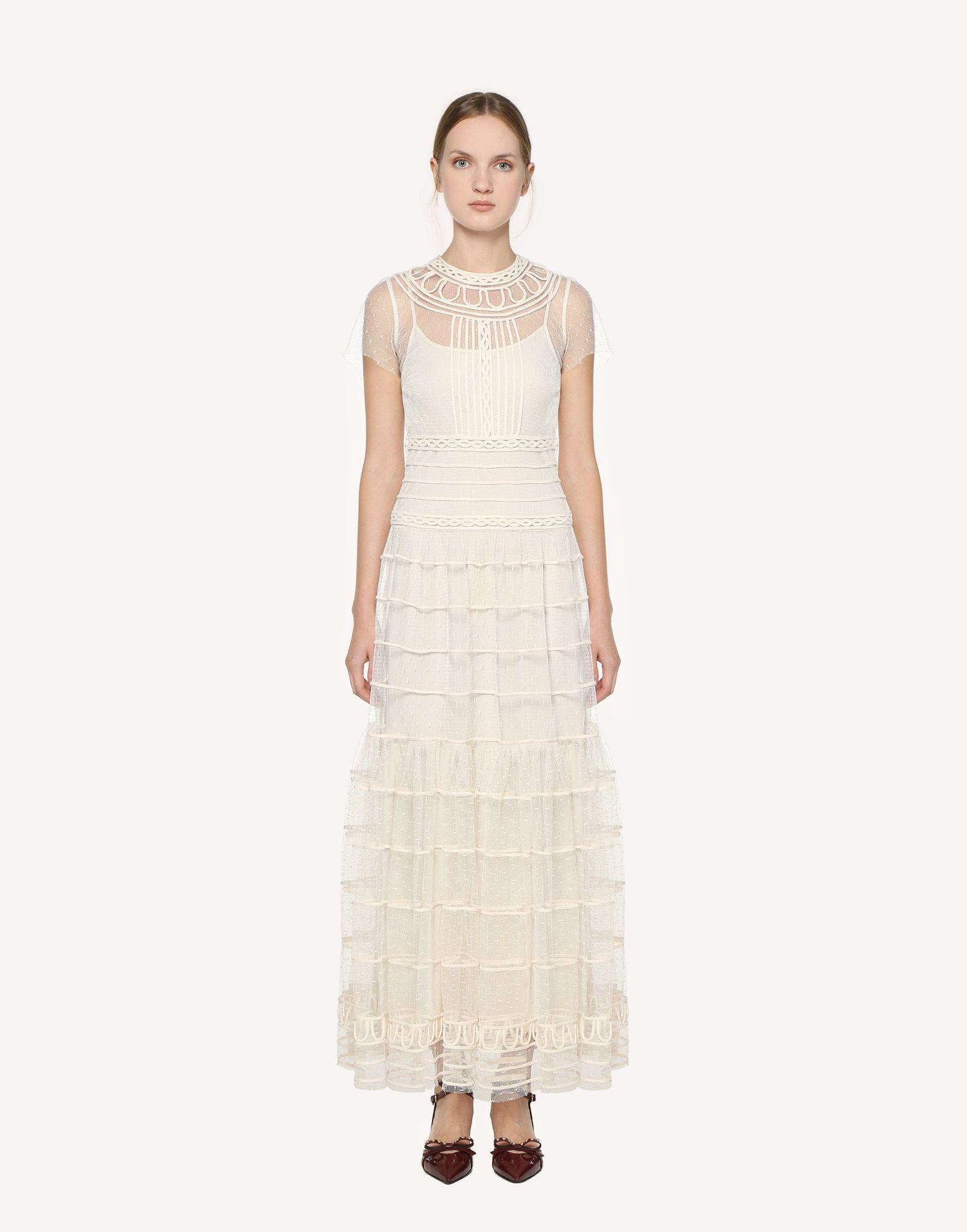 POINT D'ESPRIT TULLE DRESS WITH TUBULAR EMBROIDERY