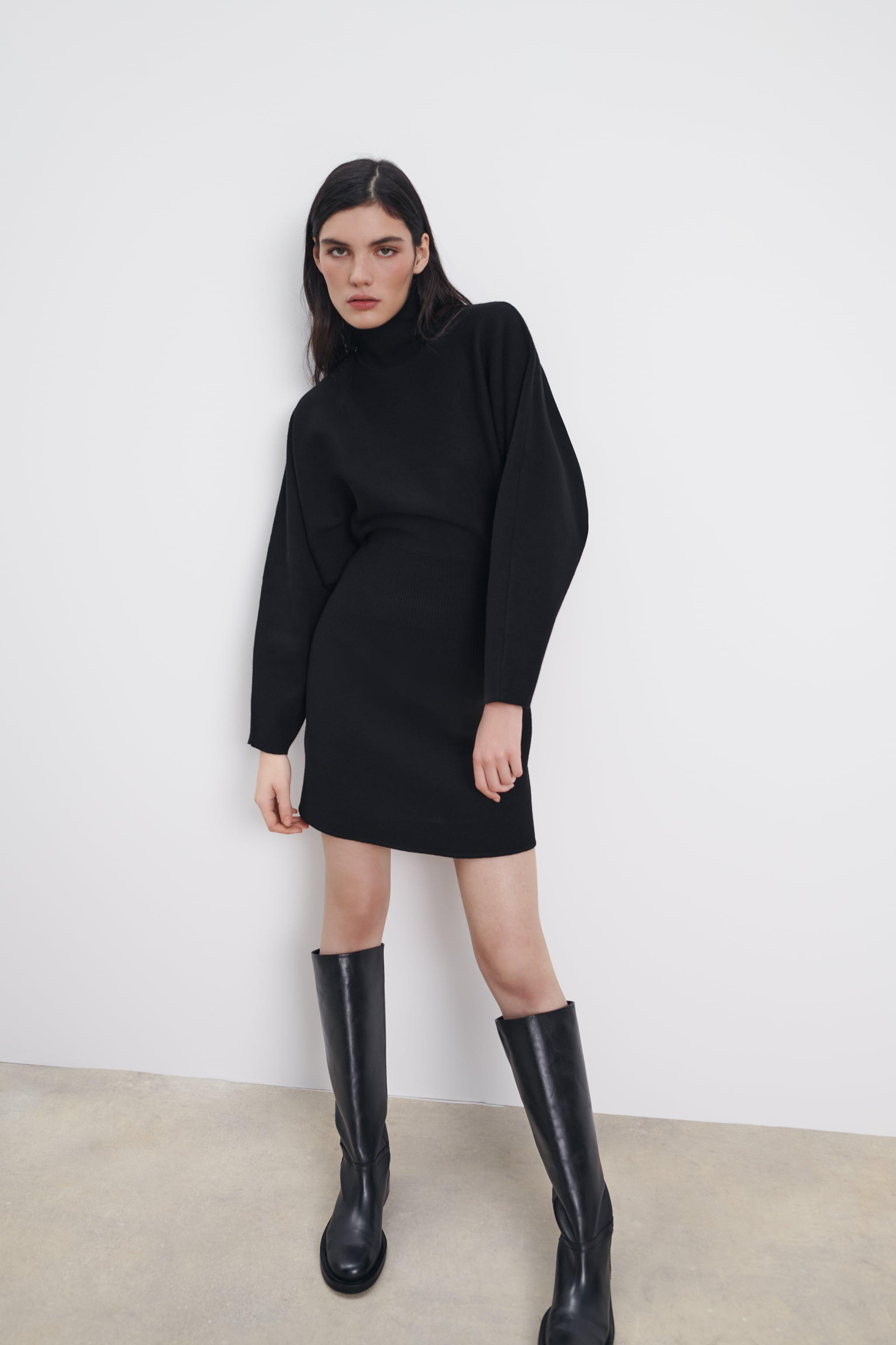 KNIT DRESS WITH RUCHED WAIST