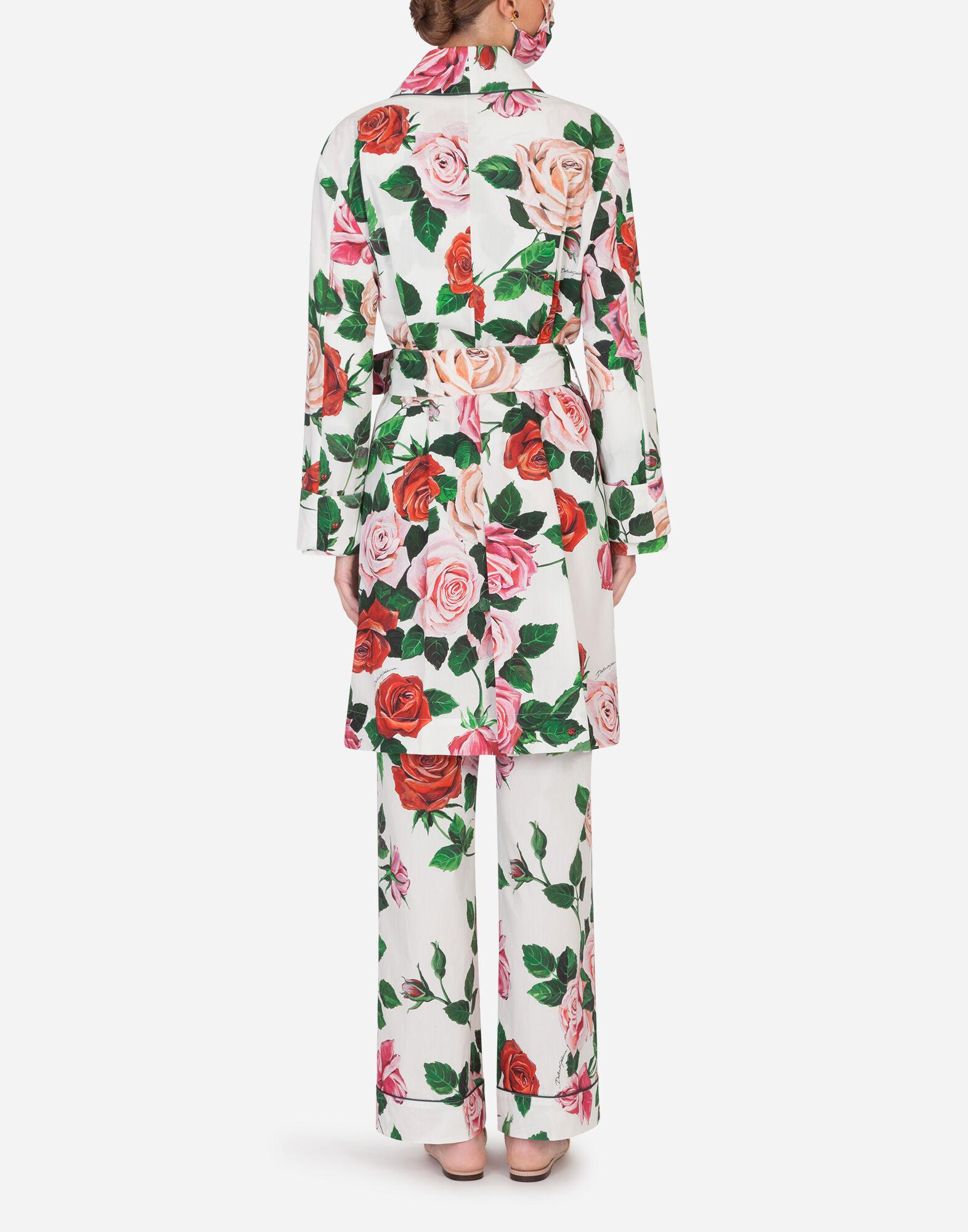 Rose-print robe with matching face mask 1