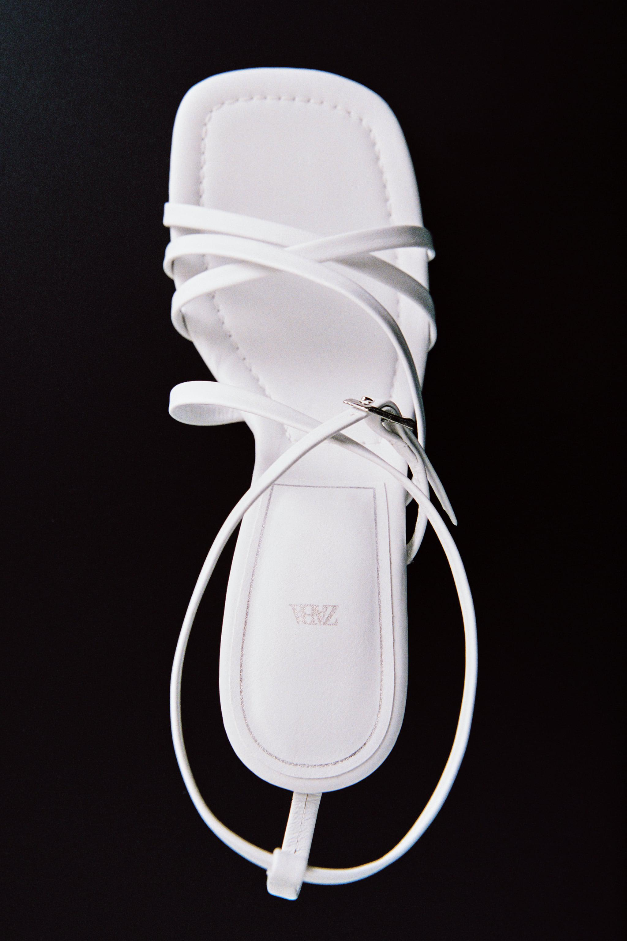 LEATHER HIGH HEEL STRAPPY SANDALS WITH BUCKLE 6