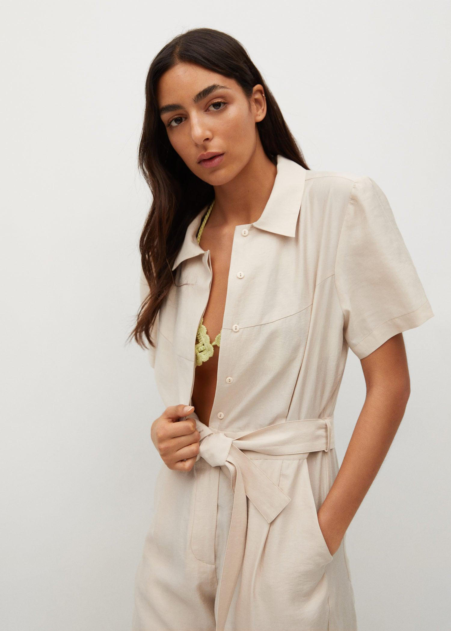 Lyocell jumpsuit with belt