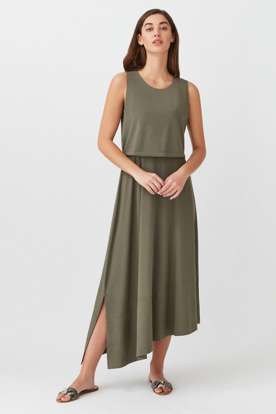 Women's Asymmetrical Overlay Dress in Olive | Size: Small | Organic Pima Cotton by Cuyana 1