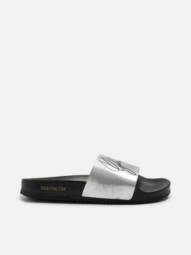 Women's black Poolstars with silver strap