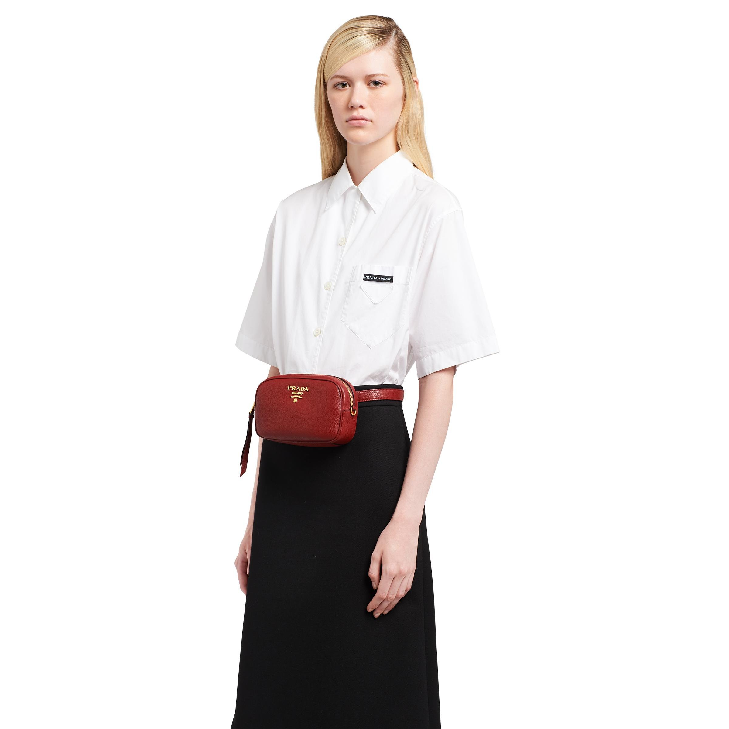 Leather Belt Bag Women Ruby Red 1