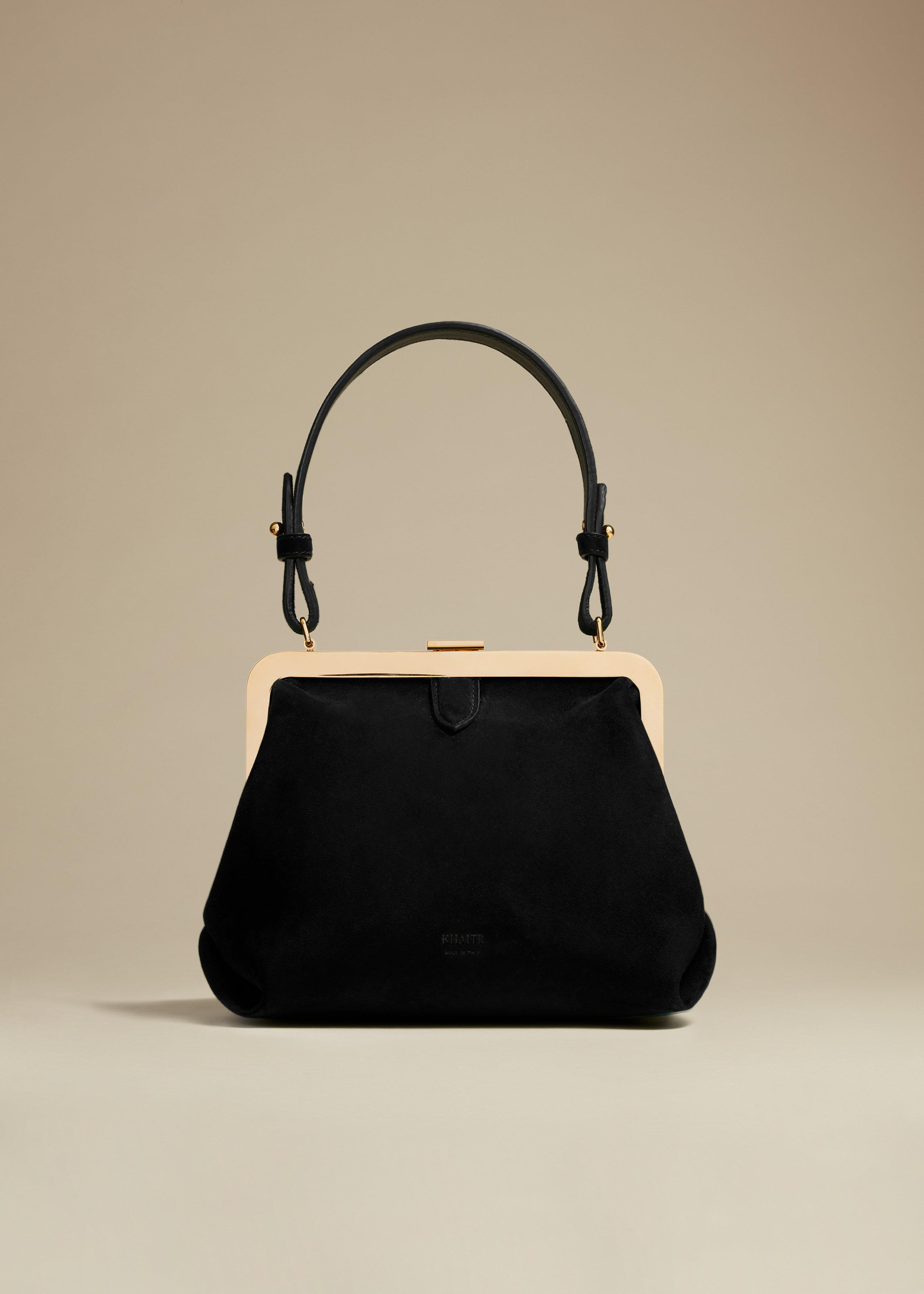 The Small Agnes Bag in Black Suede