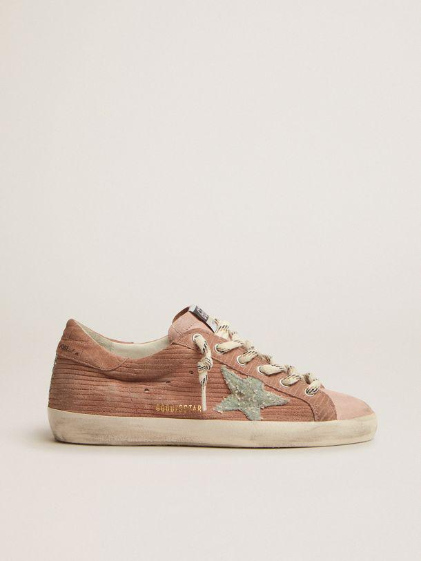 Super-Star sneakers in peach-pink suede with corduroy print and bouclé star