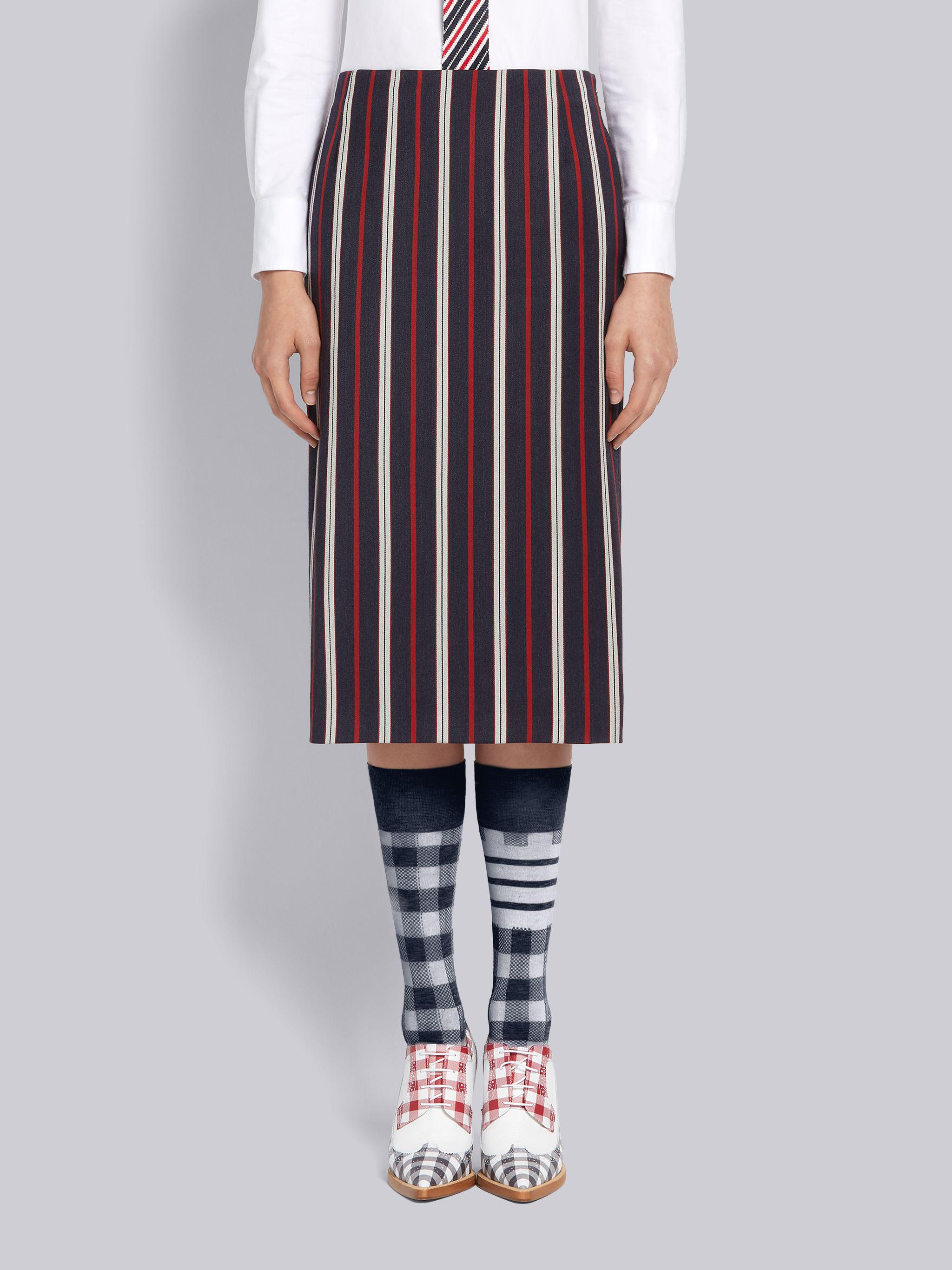 Multi-Color Wool Cotton Suiting Variegated Rep Stripe Knee Length Sheath Pencil Skirt