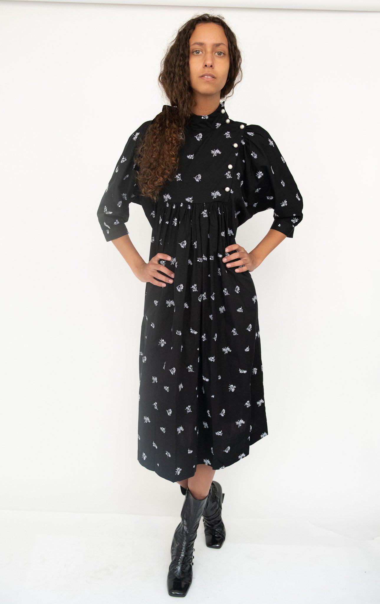 Smock Dress in Black Embroidered Cotton 2