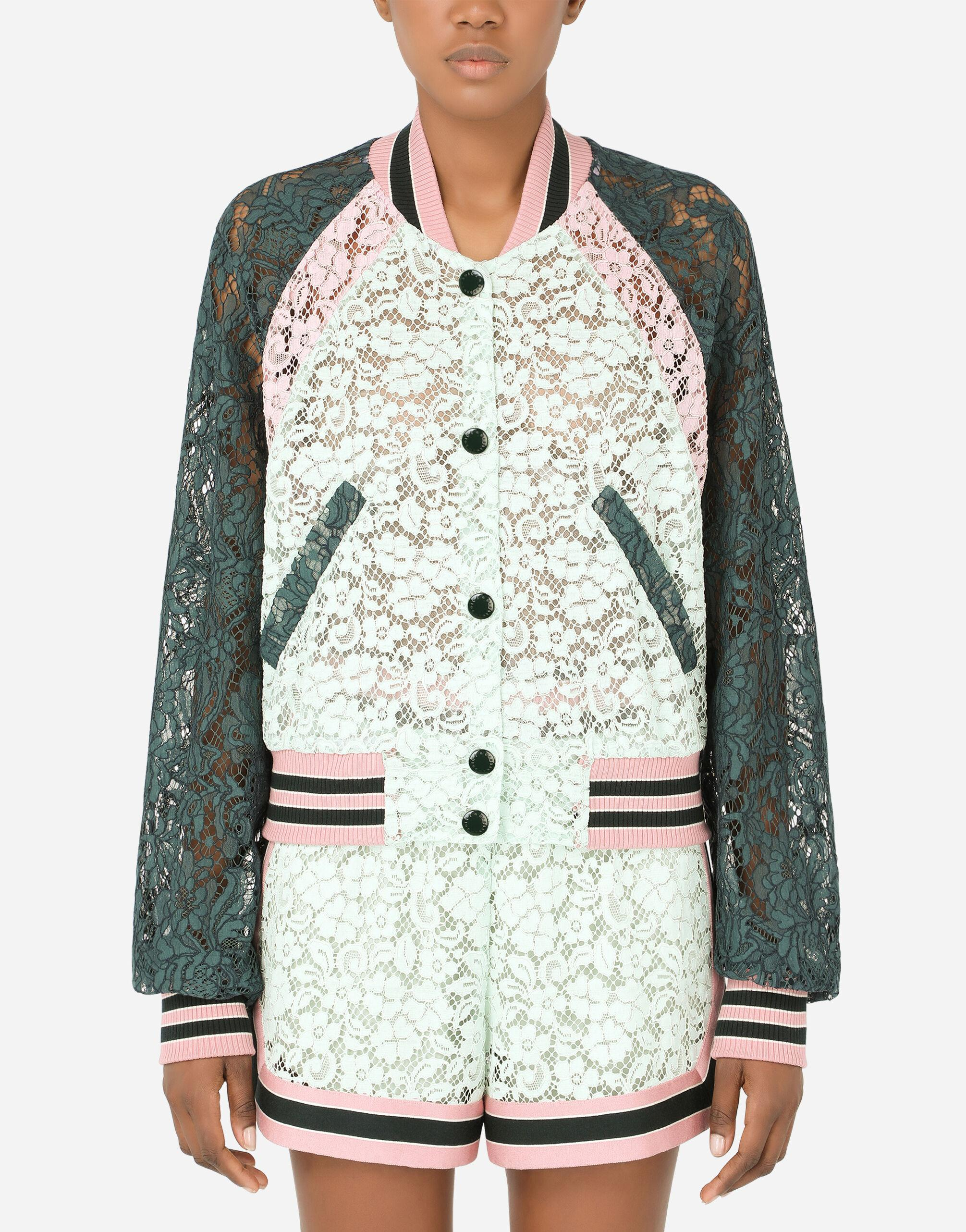 Lace bomber jacket with contrasting trims