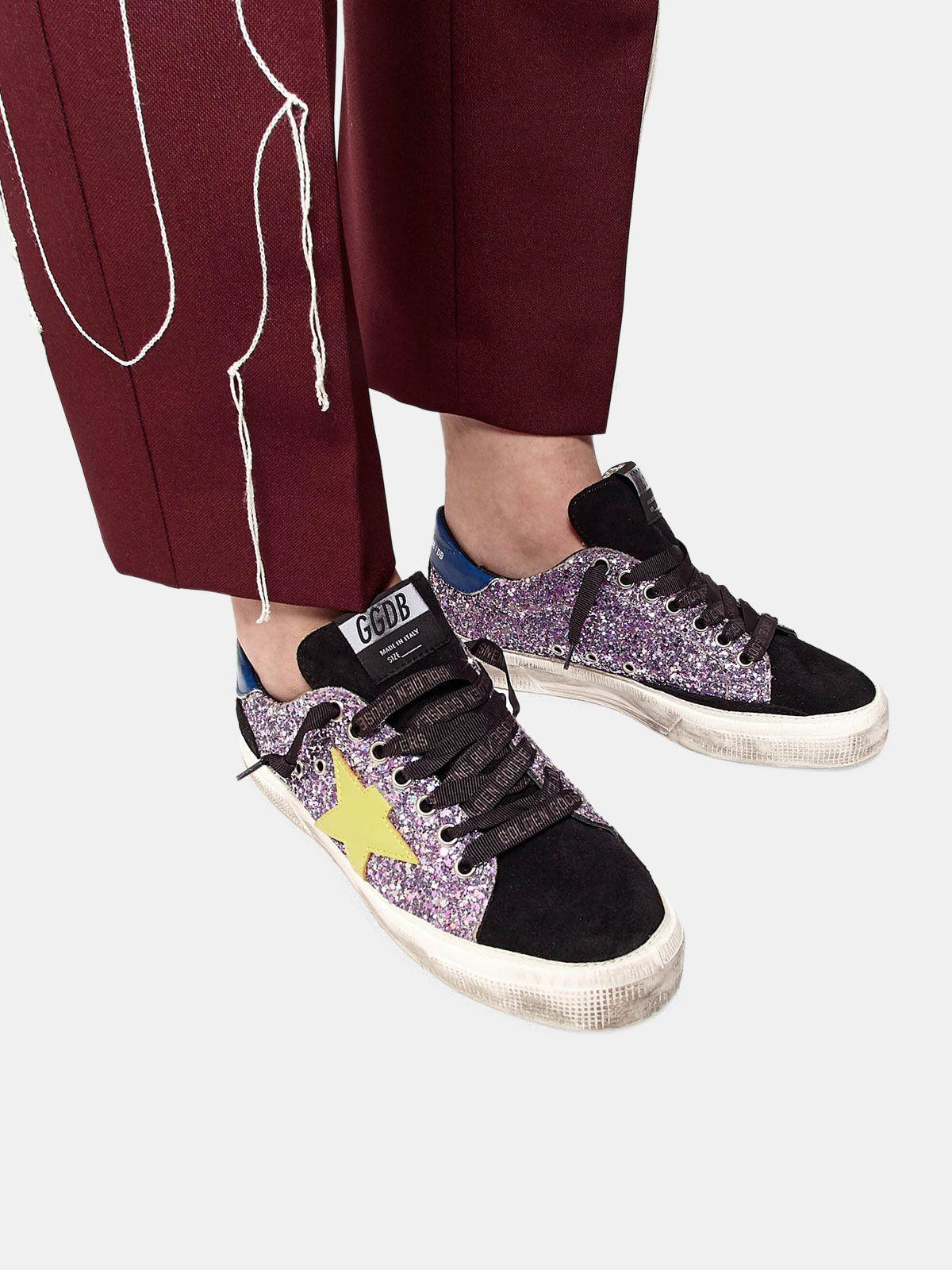 May sneakers in glitter and suede leather 4