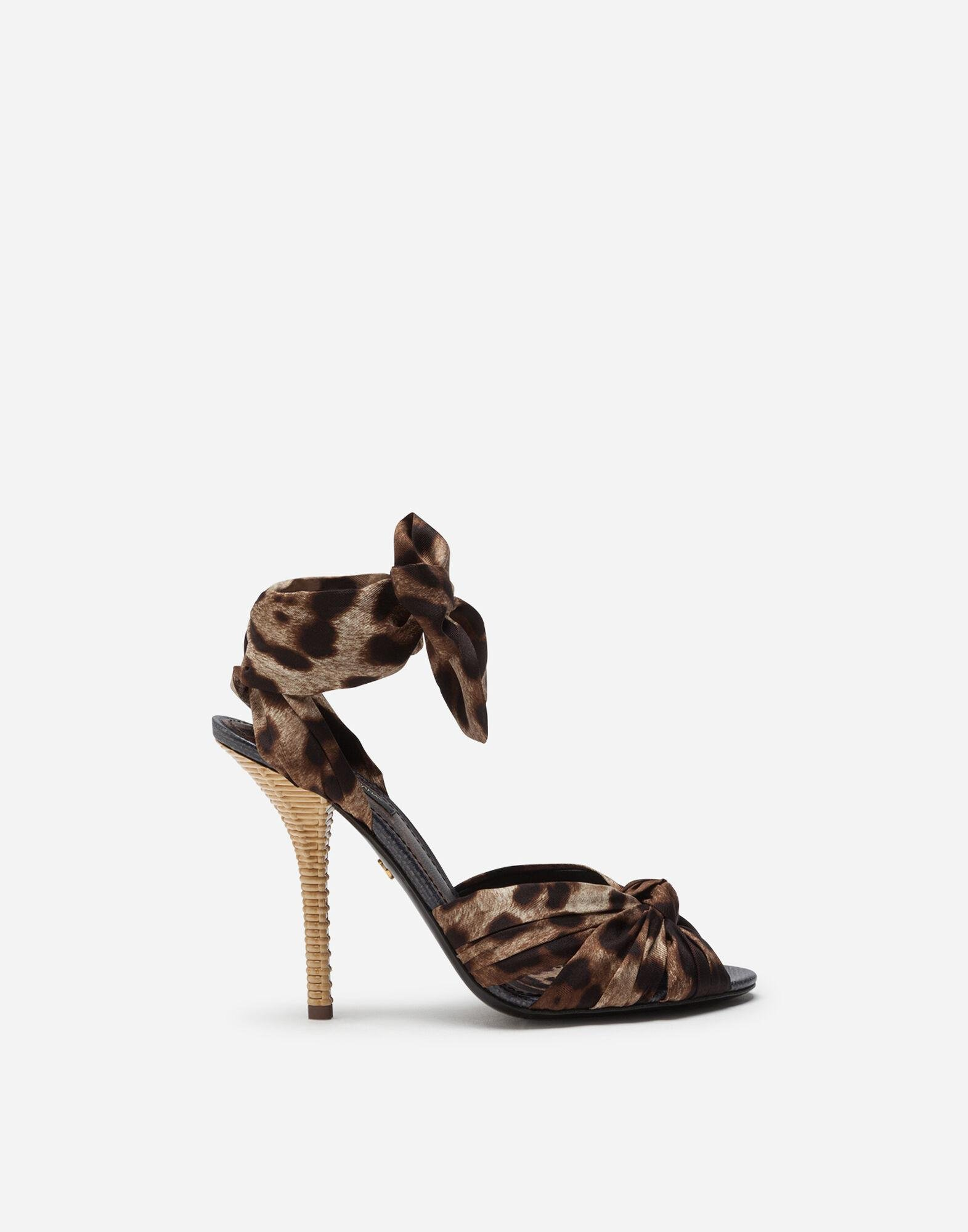 Twill sandals with leopard print and heel in wicker