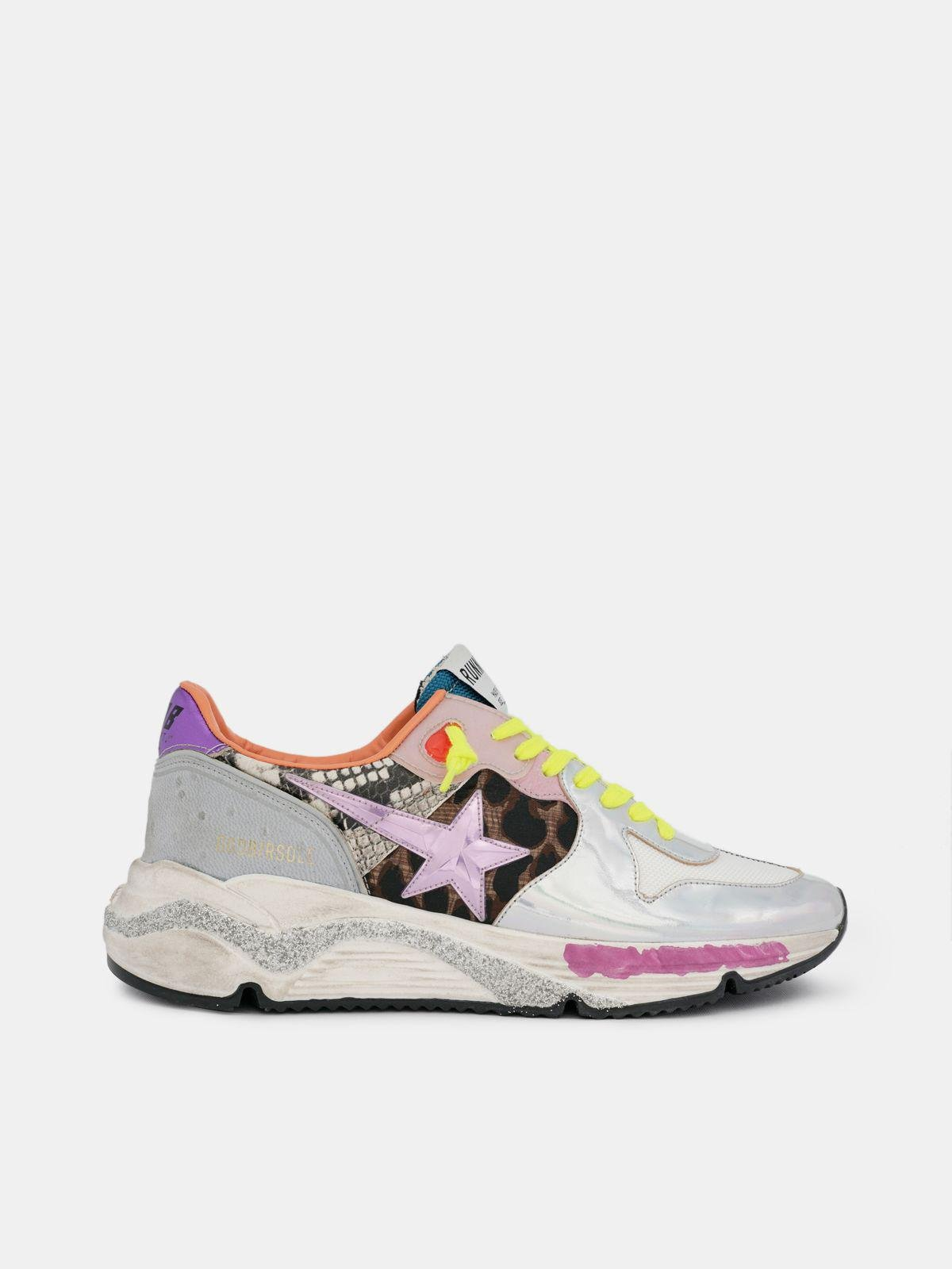 Holographic Running Sole sneakers with animal-print inserts 0