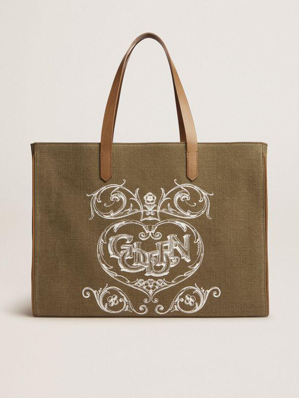 California Bag in military-green East-West canvas with screen print