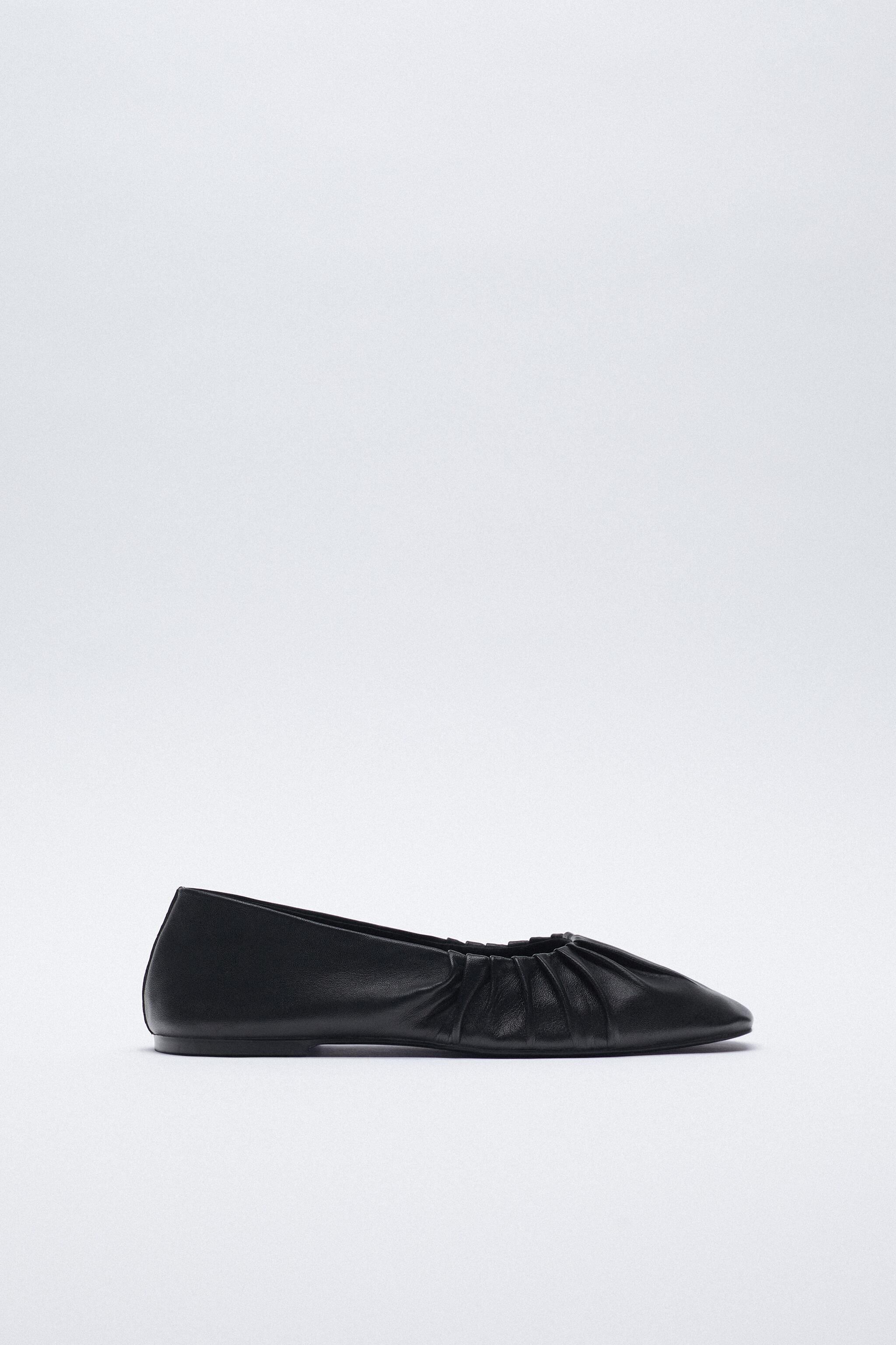 RUCHED LEATHER BALLET FLATS 0