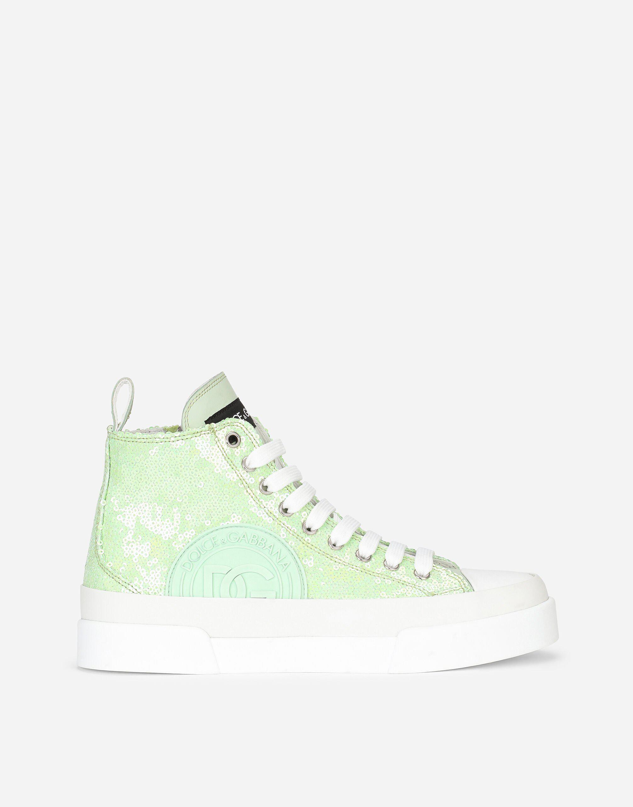 Rubberized calfskin Portofino Light mid-top sneakers with micro-sequins