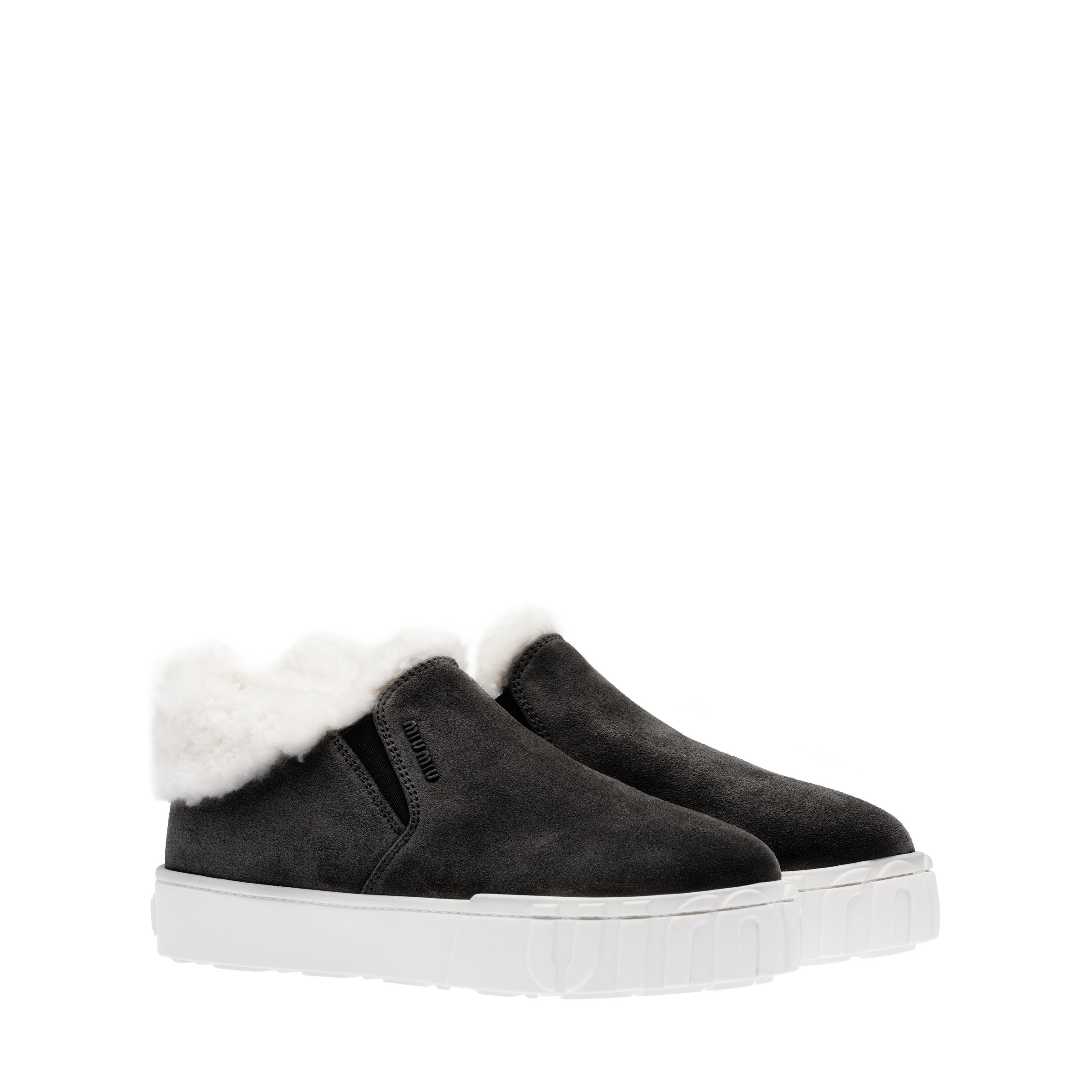Suede Slip-on Ankle Boots Women Black/tan