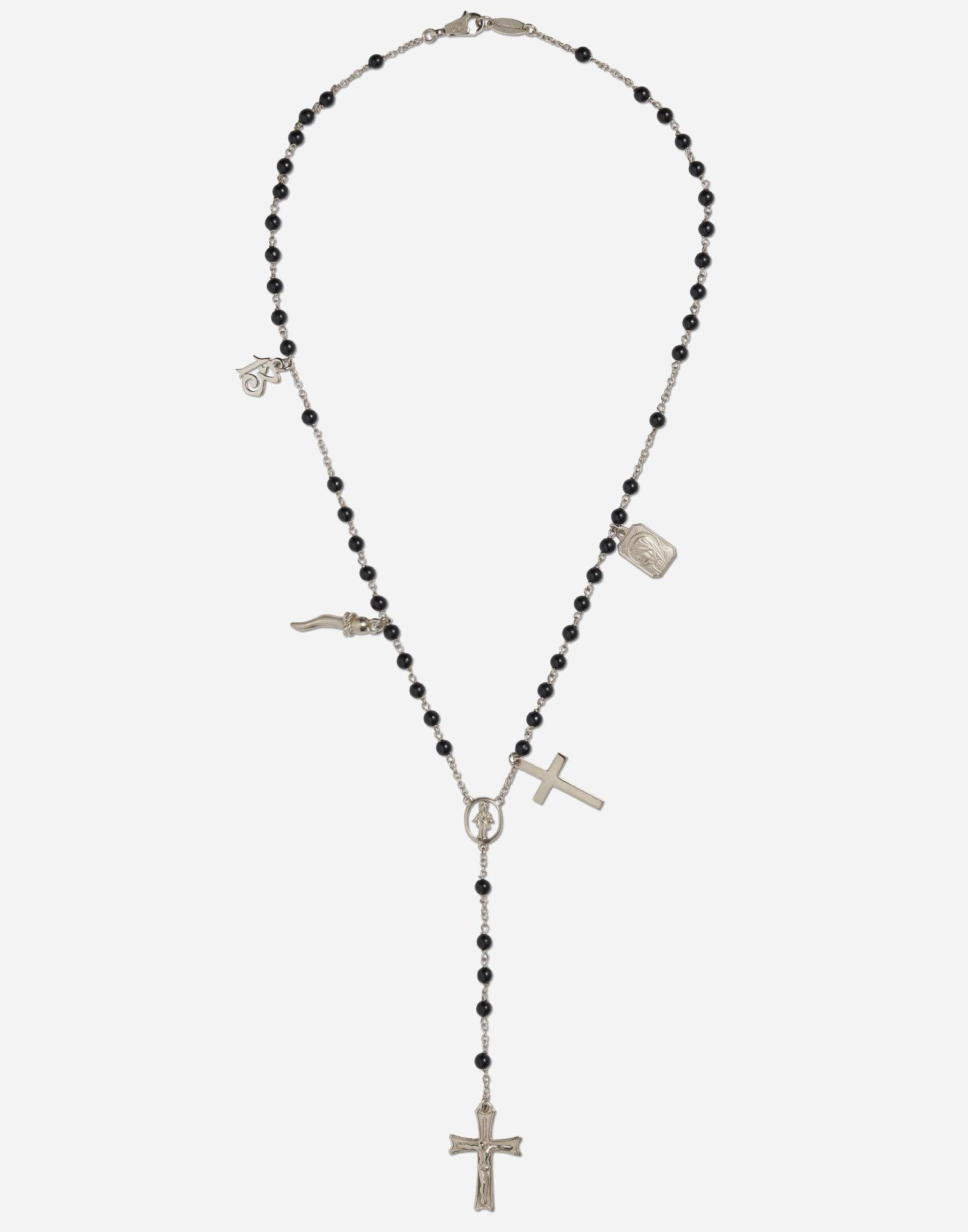 Tradition rosary necklace in white gold with black jades beads