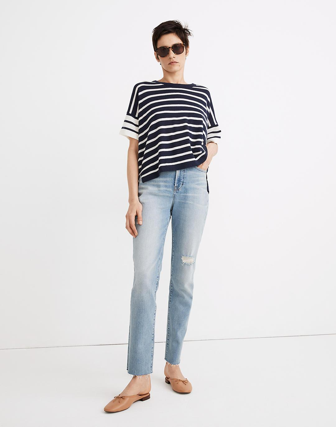 (Re)sponsible Weightless Cashmere Sweater Tee in Stripe