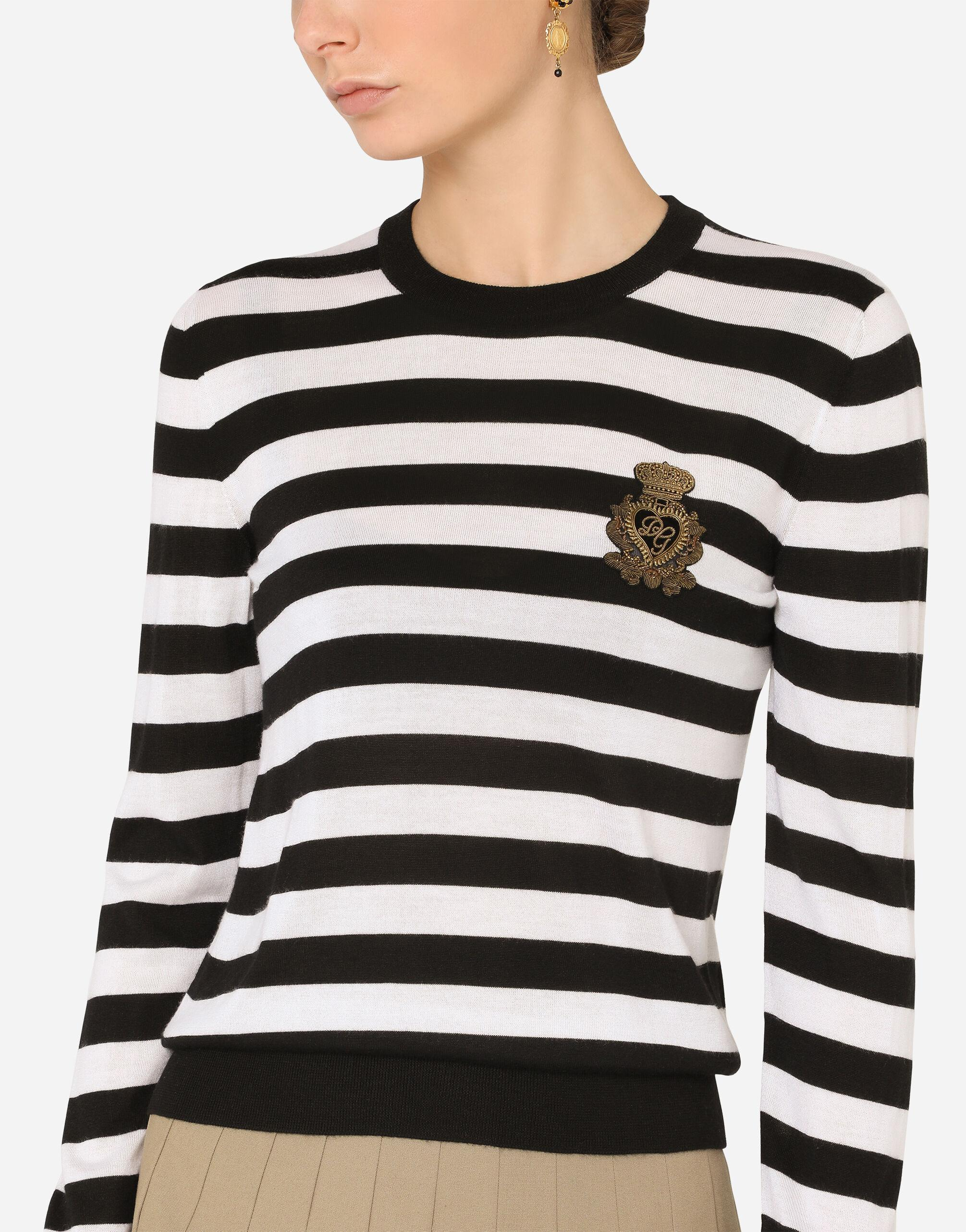 Striped crew-neck sweater in silk and cashmere with logo detail 2
