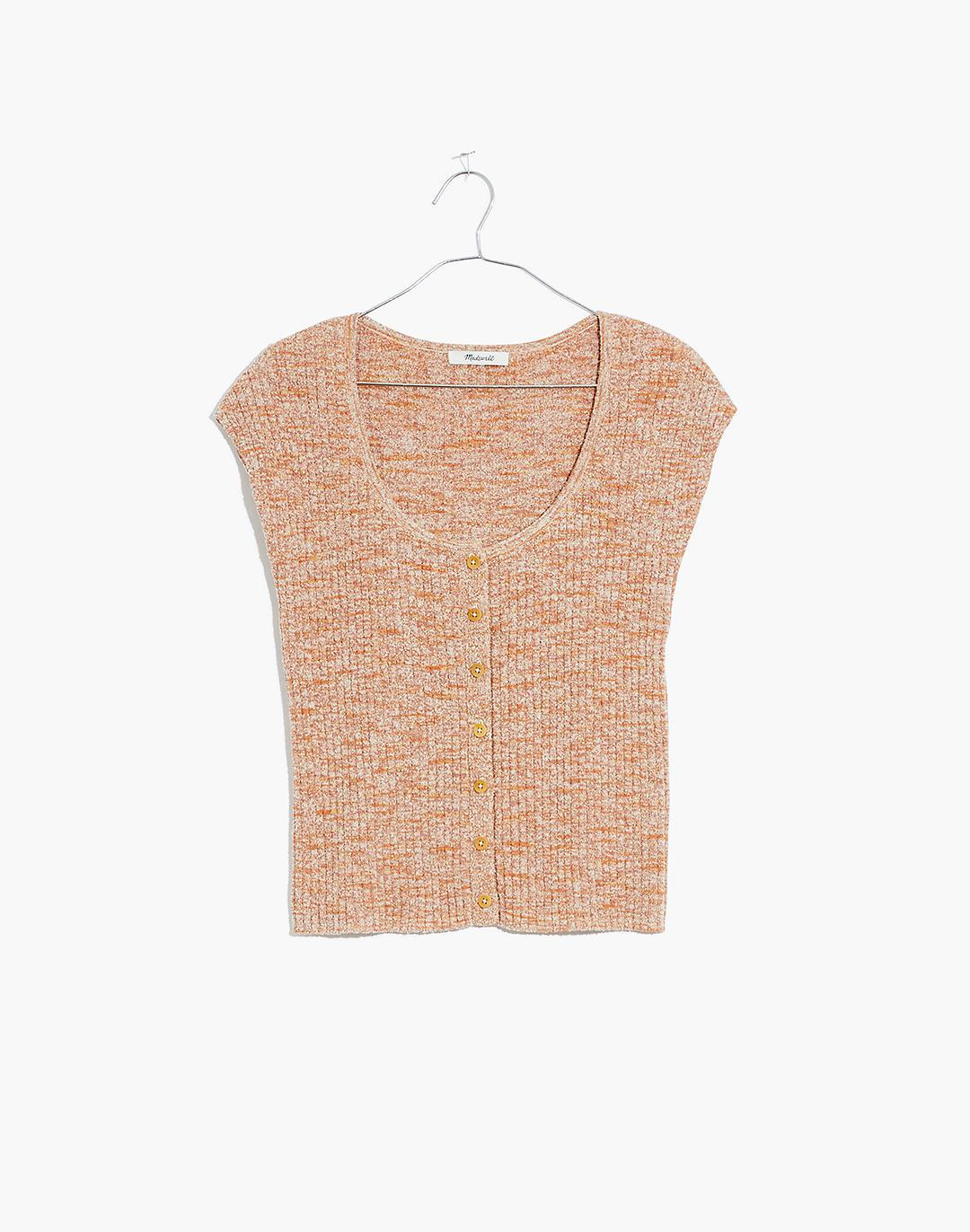 Marled Shaw Button-Front Sweater Tee