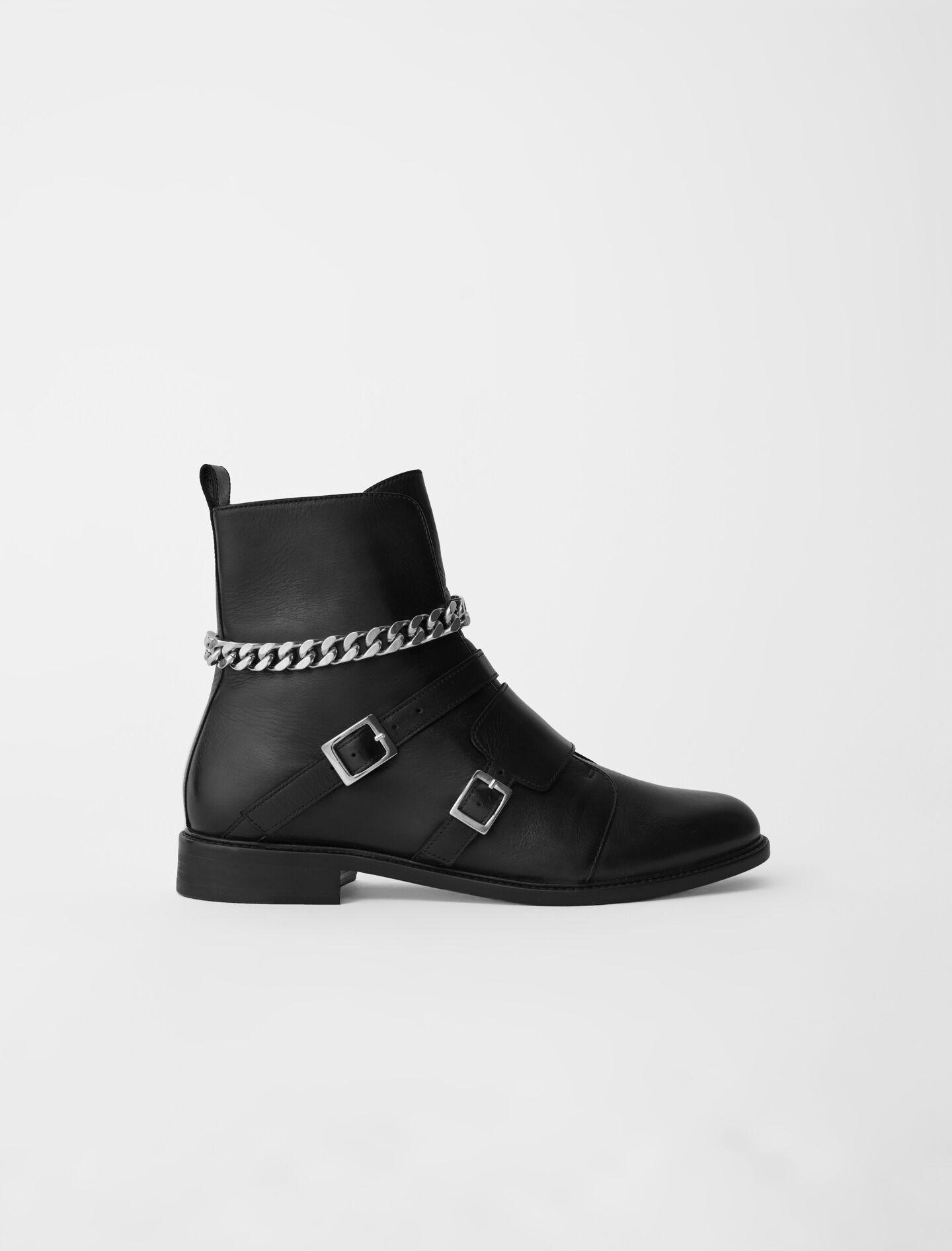 FLAT ANKLE BOOTS WITH STRAPS AND CHAIN