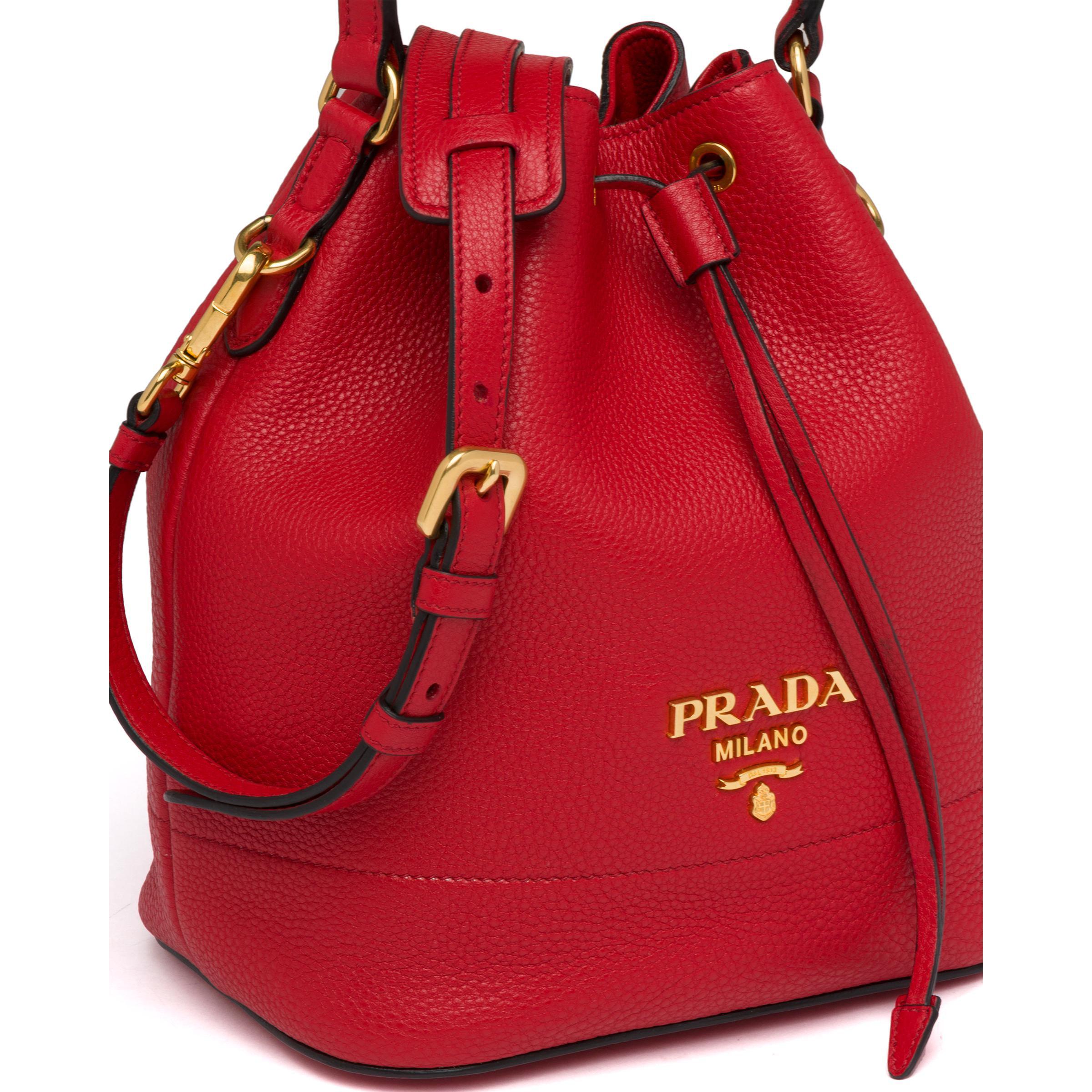 Leather Bucket Bag Women Red D 5