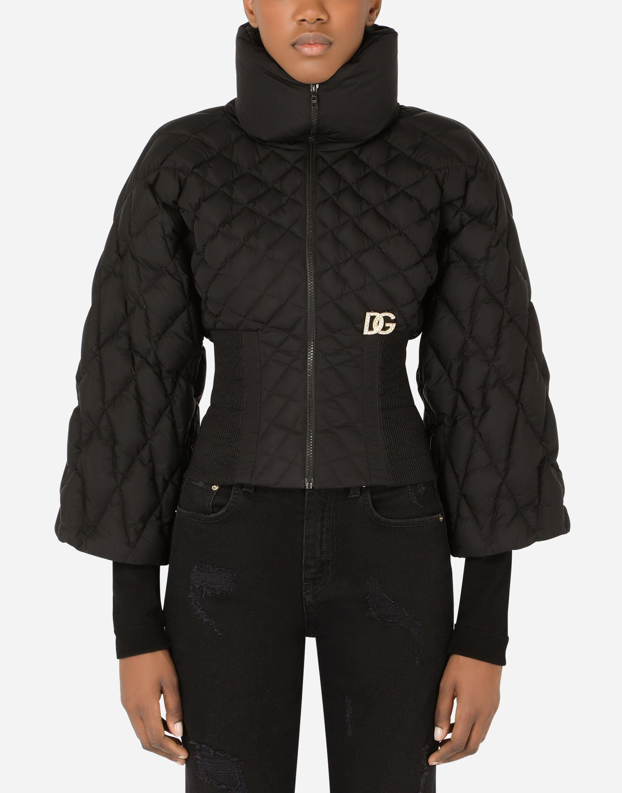 Quilted nylon jacket with knit sleeves and crystal DG embellishment