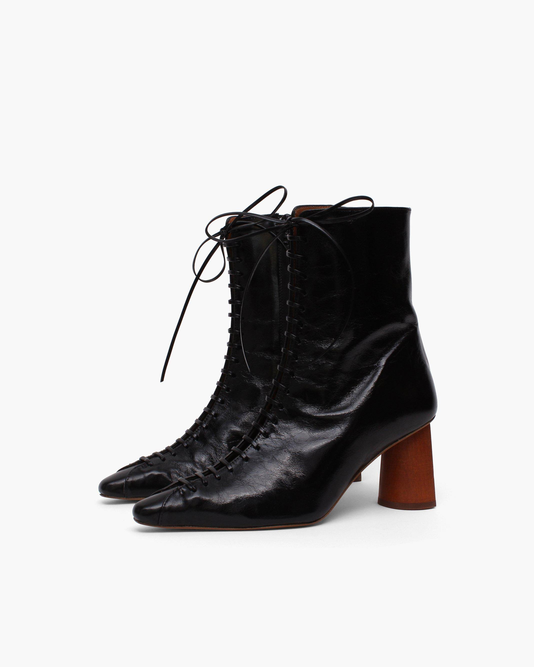 Peyton Boots Leather Patent Crinkle Black - SALE 1
