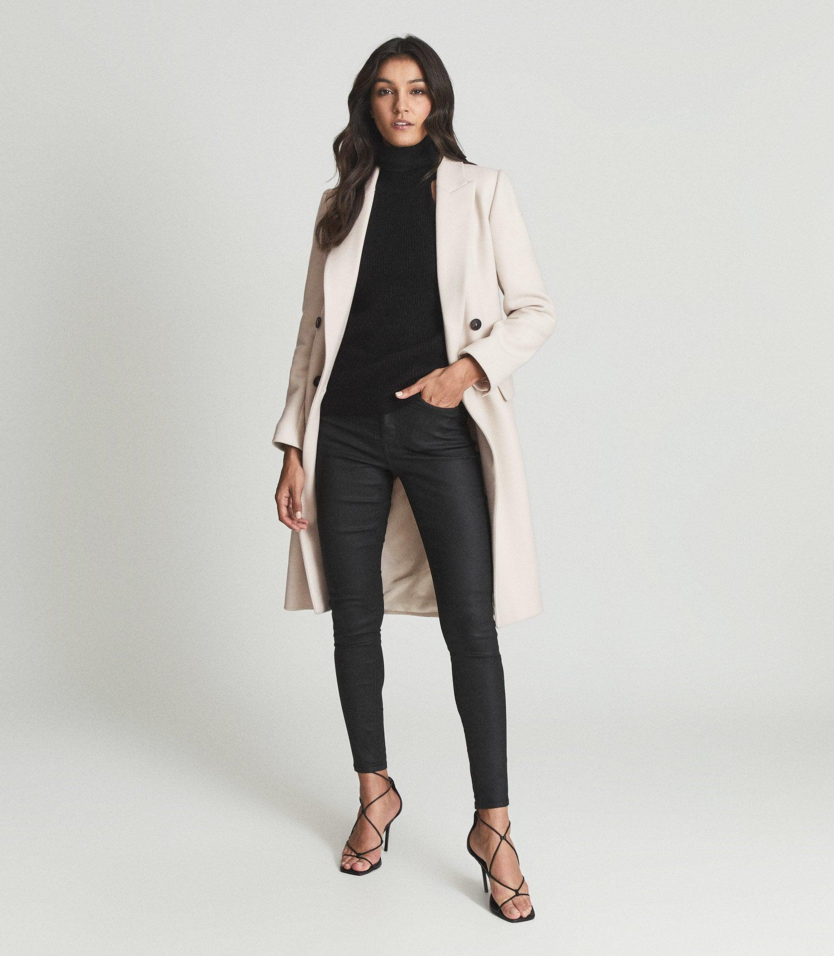 LUX - COATED MID RISE SKINNY JEANS